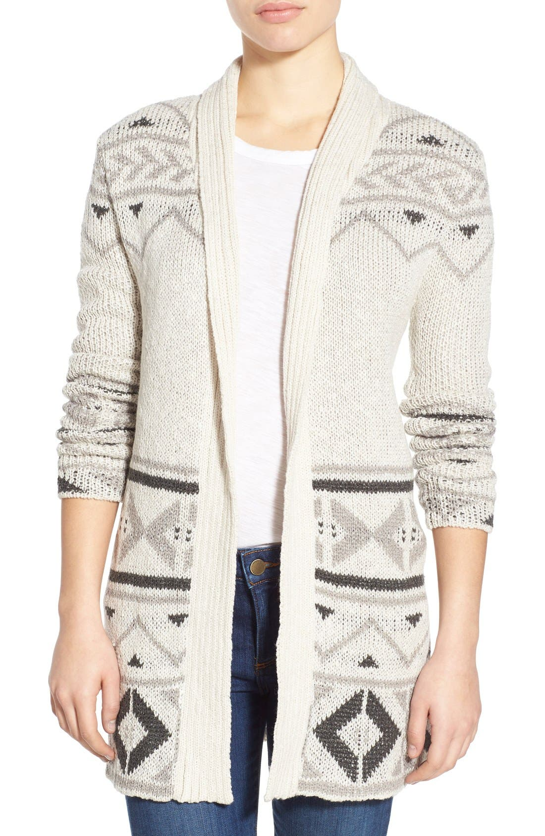 Alternate Image 1 Selected - cupcakes and cashmere 'Reilly' Open Front Long Cardigan