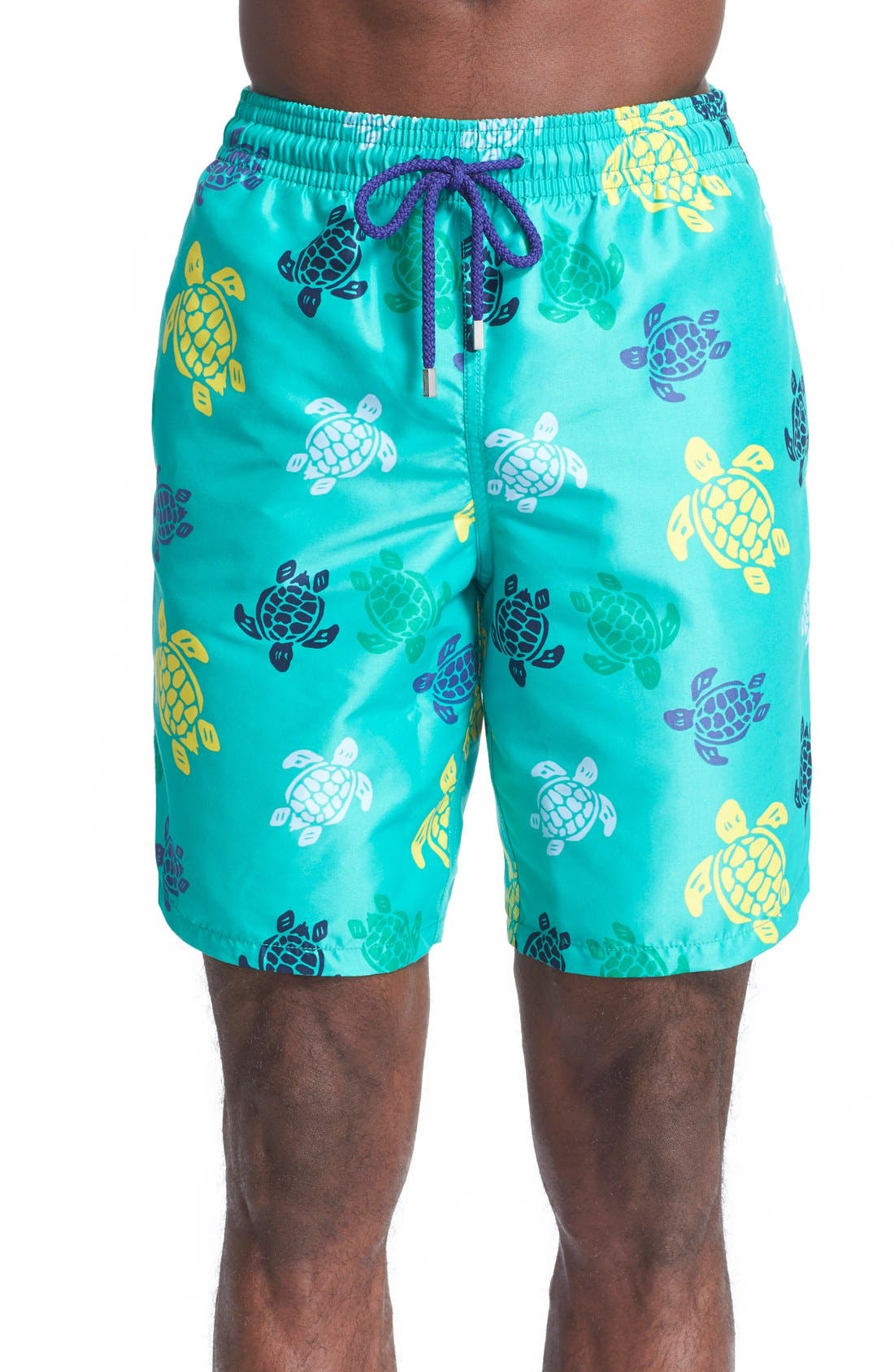 'Okoa' Turtle Print Swim Trunks,                         Main,                         color, Veronese Green