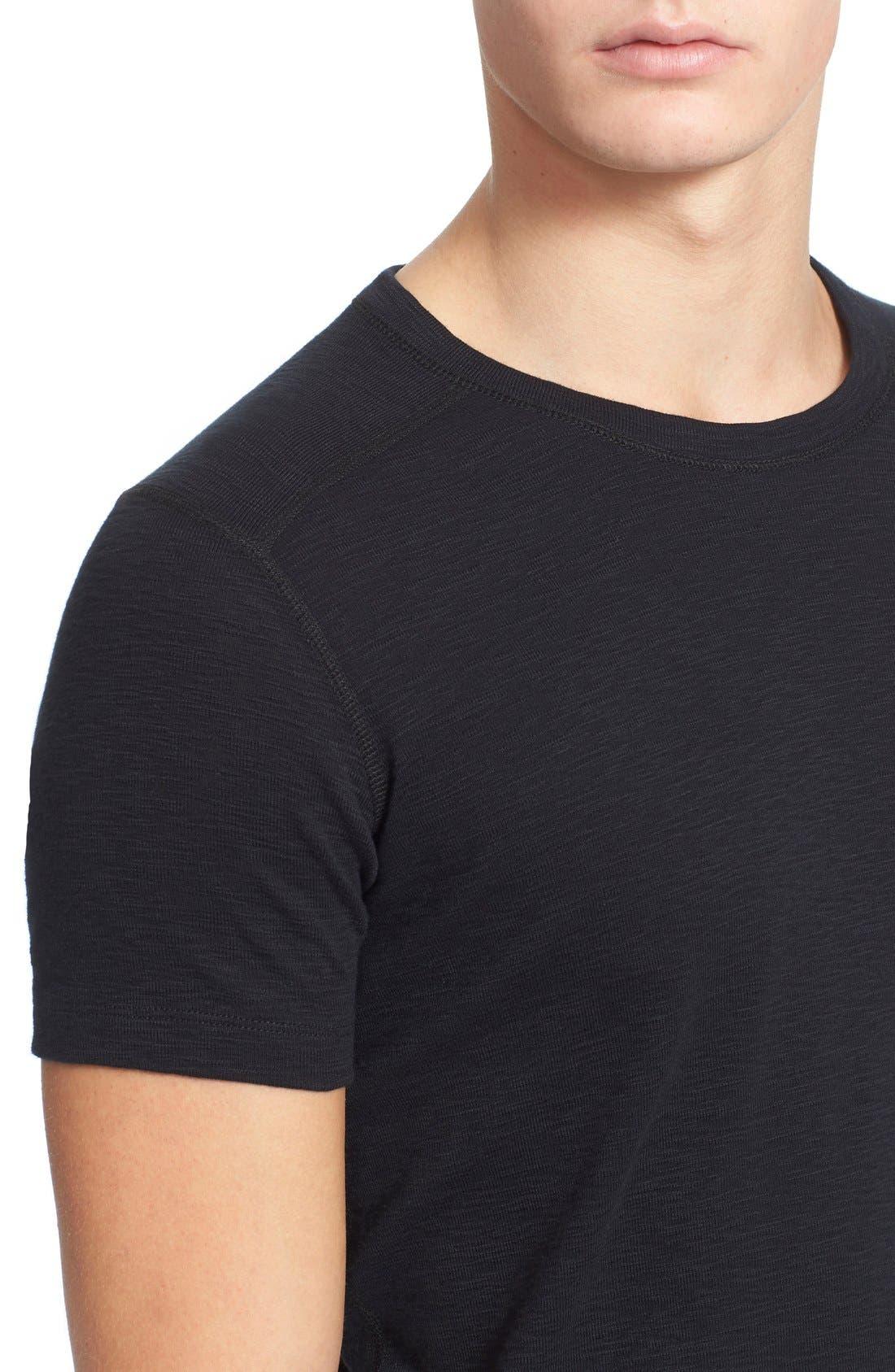 Ribbed Slub Cotton T-Shirt,                             Alternate thumbnail 4, color,                             Black