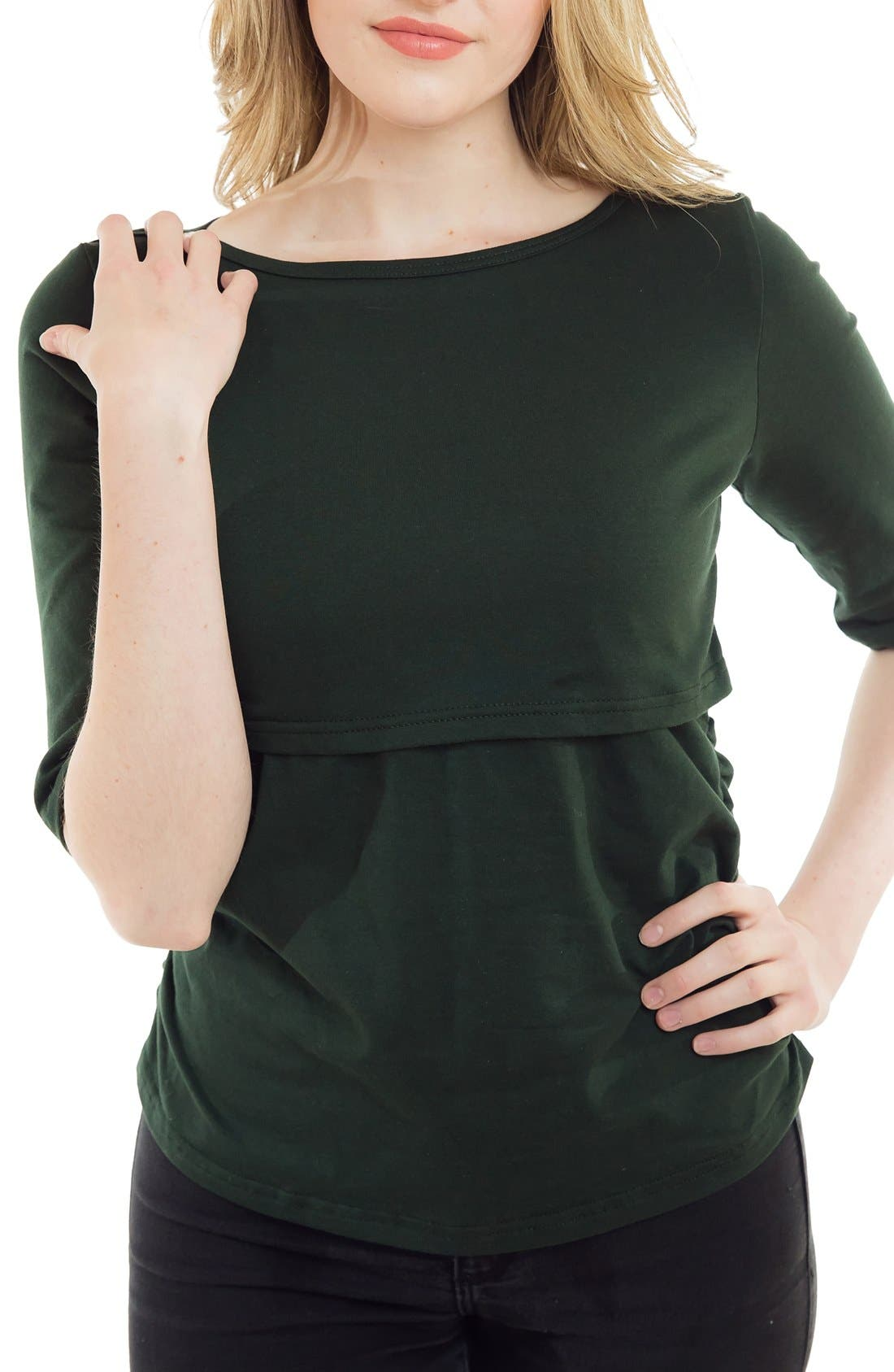 Boatneck Nursing Top,                         Main,                         color, Green Forest