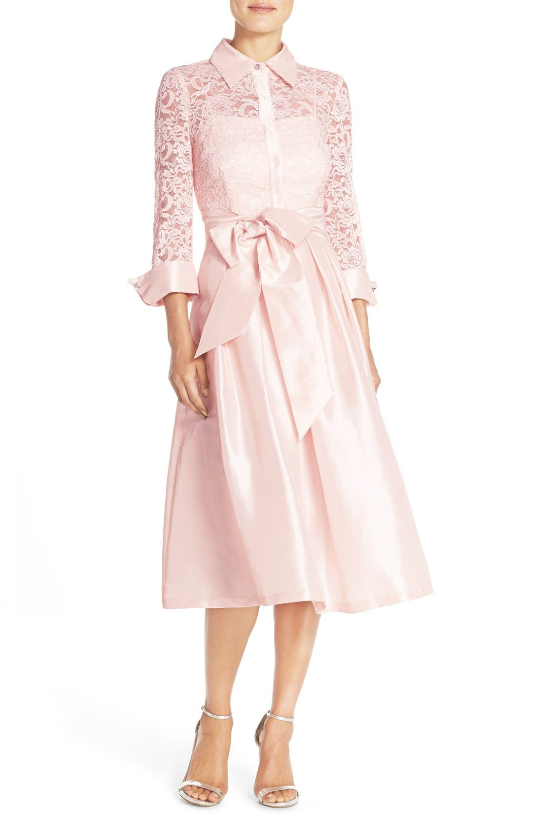 Belted Lace & Taffeta Point Collar Midi Dress,                             Main thumbnail 1, color,                             Blush