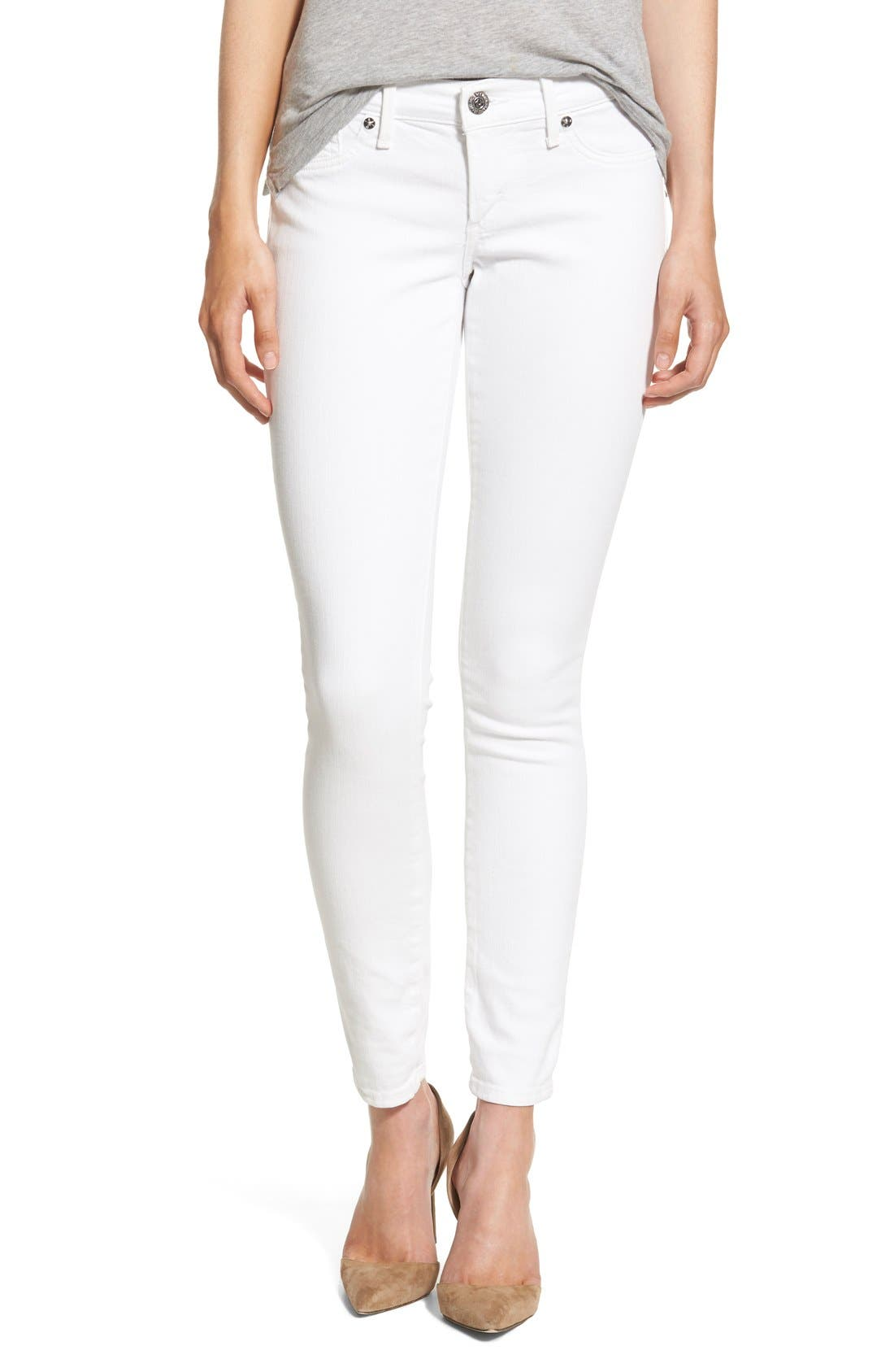 'Casey' Flap Pocket Skinny Jeans,                             Main thumbnail 1, color,                             Optic White