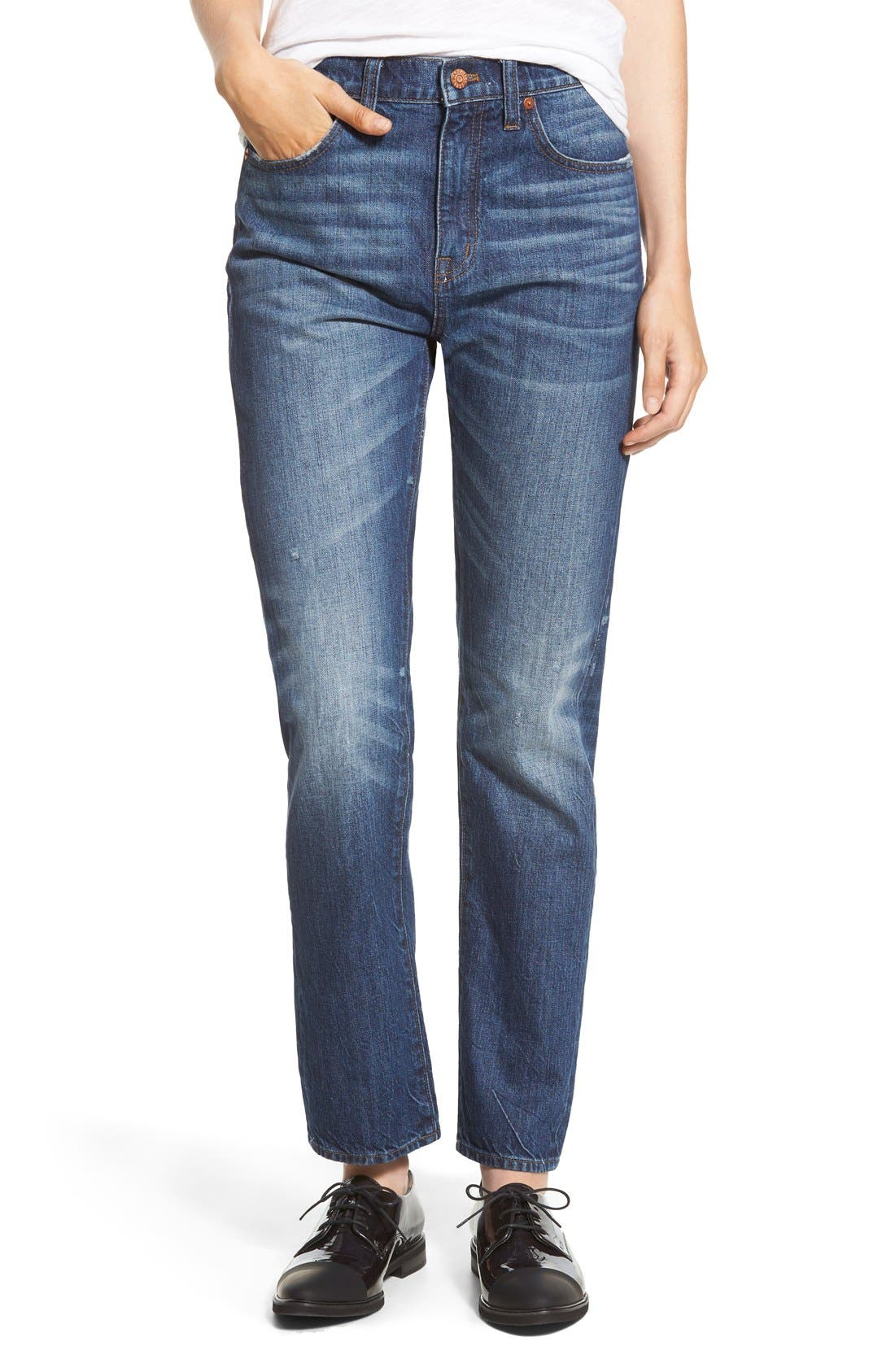 Main Image - Madewell Crop Straight Leg Jeans (Preston)