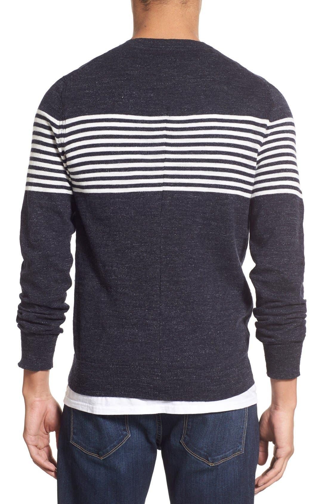 'Shore Club' Chest Stripe Crewneck Sweater,                             Alternate thumbnail 2, color,                             Navy