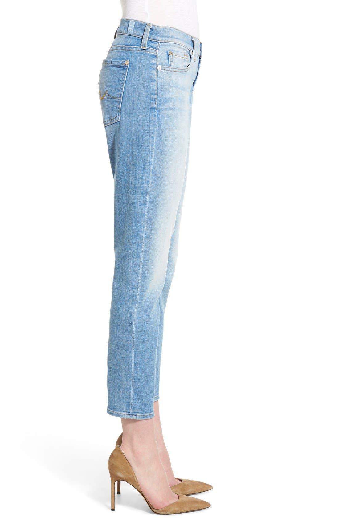Alternate Image 3  - 7 For All Mankind® 'Josefina' Mid Rise Boyfriend Jeans (Mediterranean Sky)