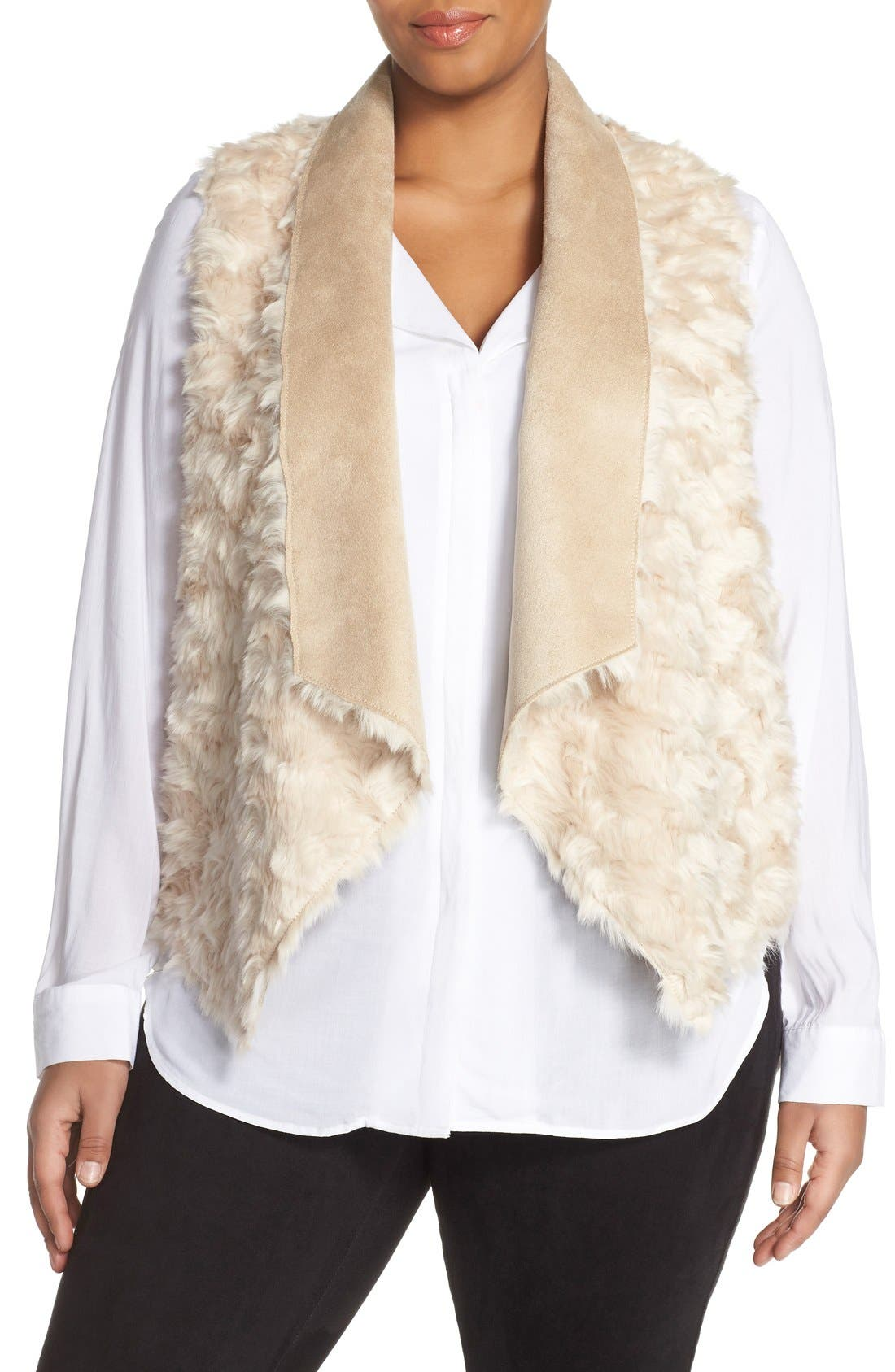 'Sheri' Drape Front Faux Fur Vest,                             Main thumbnail 1, color,                             Light Taupe