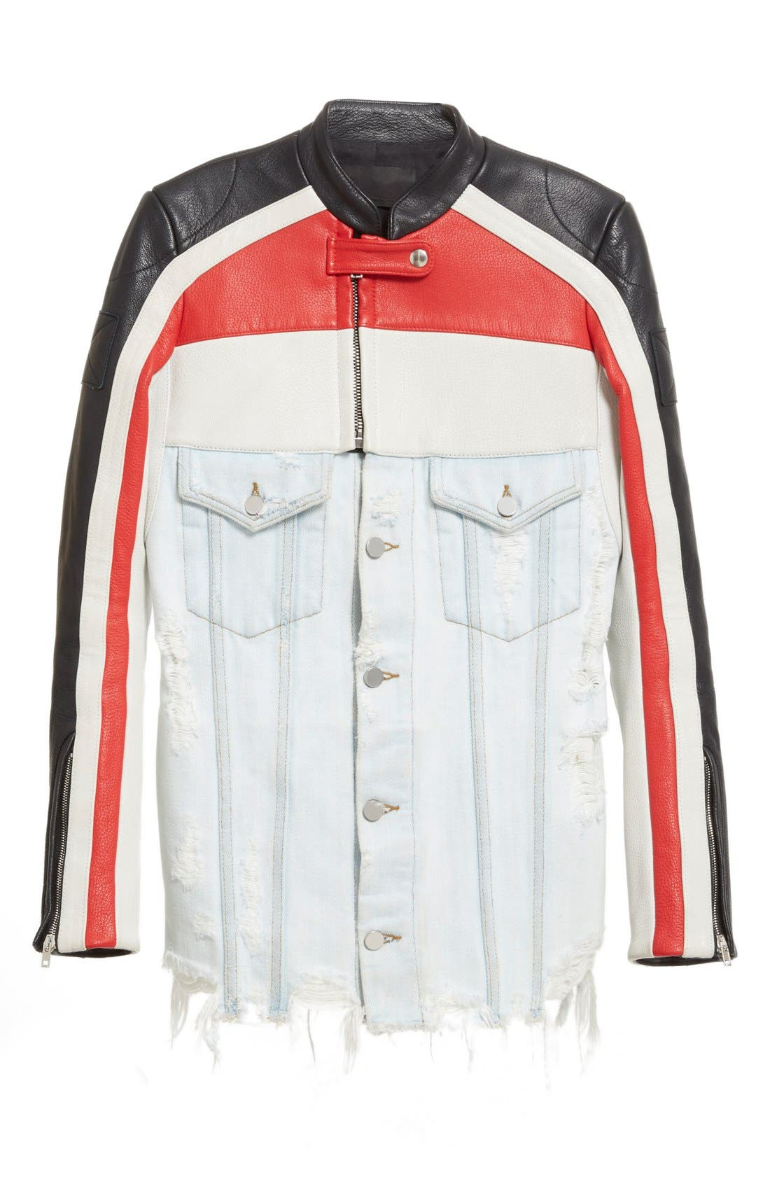 Hybrid Moto & Denim Jacket,                             Alternate thumbnail 5, color,                             Black