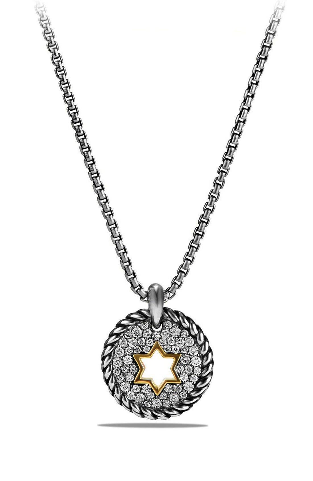 'Pettie Pavé' Star of David Pendant Necklace,                             Main thumbnail 1, color,                             Silver