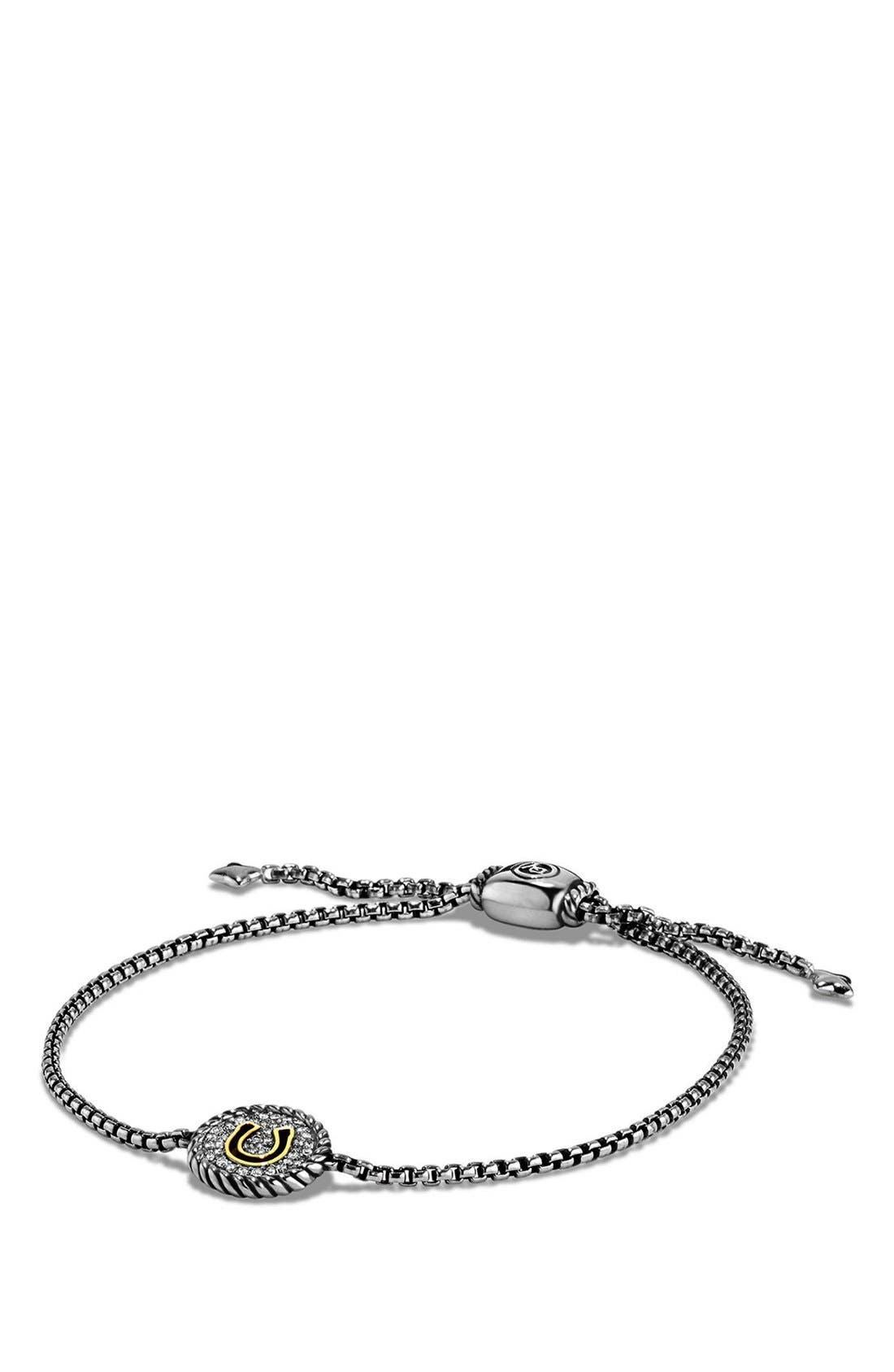 'Cable Collectibles' Horseshoe Station Bracelet with Diamonds,                         Main,                         color, Silver/ Gold