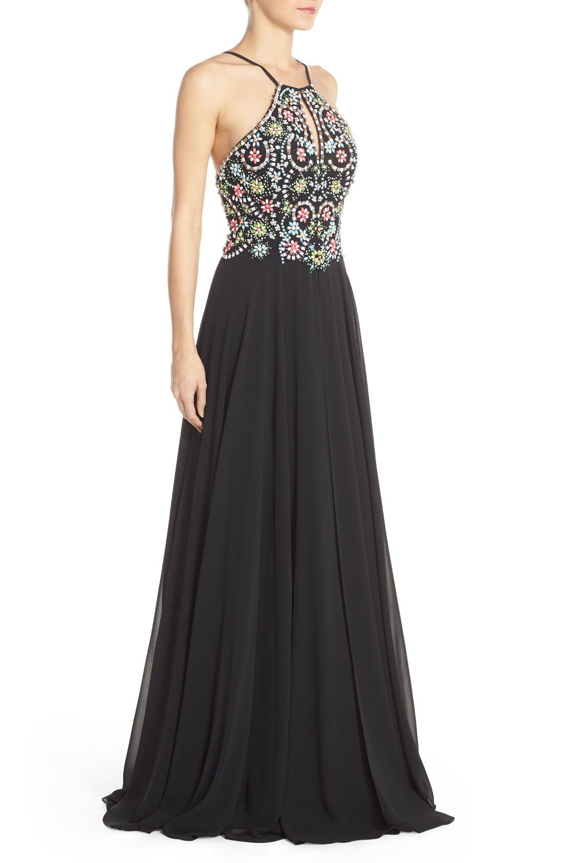 Alternate Image 3  - Faviana Embellished Chiffon Fit & Flare Gown