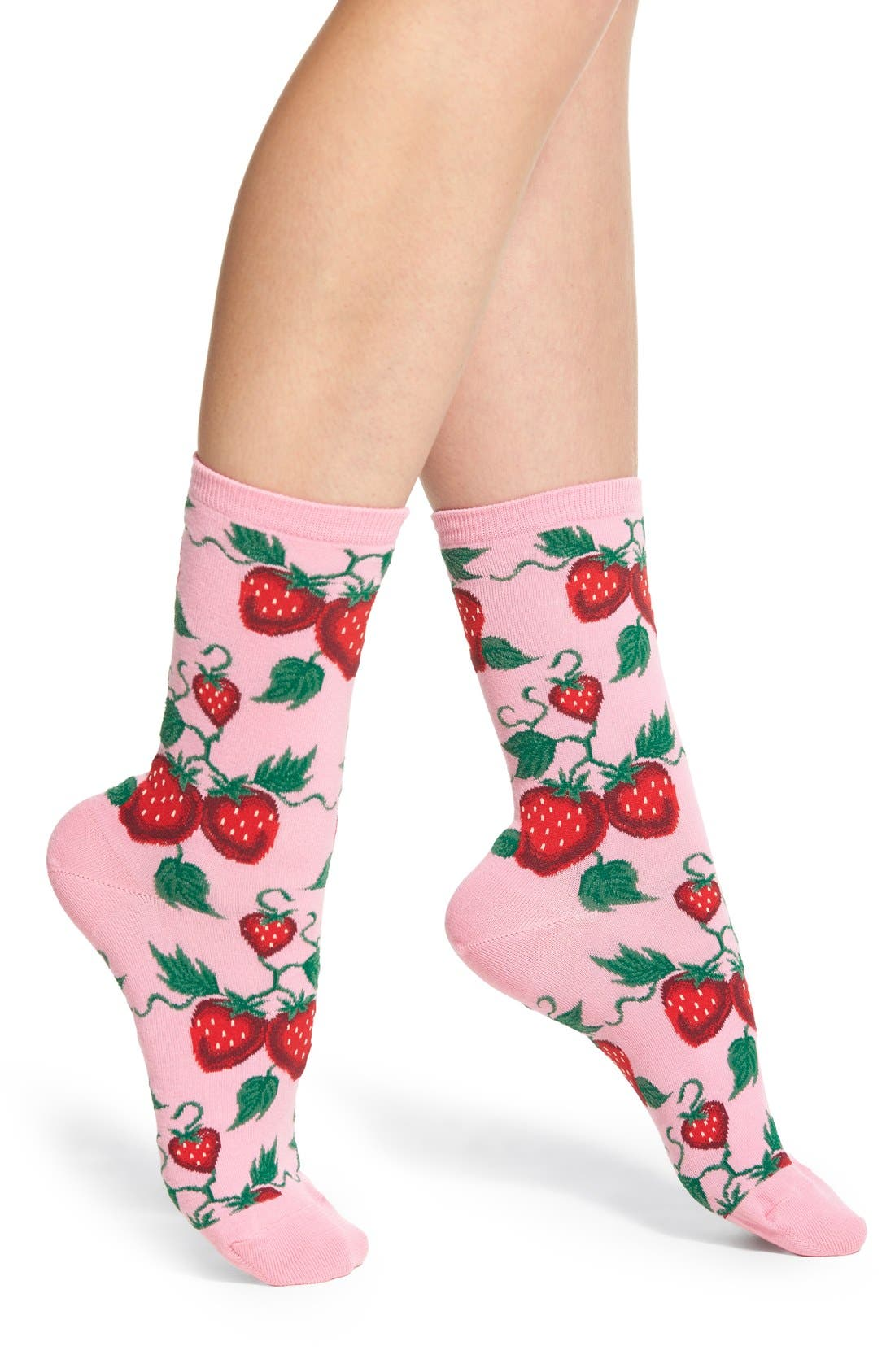'Strawberries' Socks,                             Main thumbnail 1, color,                             Pastel Pink