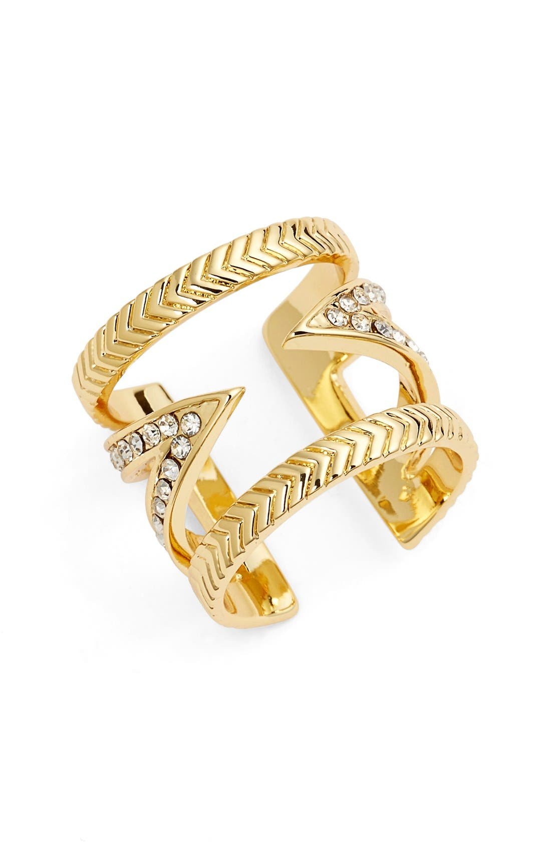 Crystal V Ring,                             Main thumbnail 1, color,                             Gold