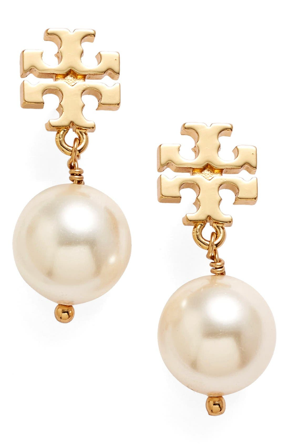 Tory Burch Logo Faux Pearl Drop Earrings