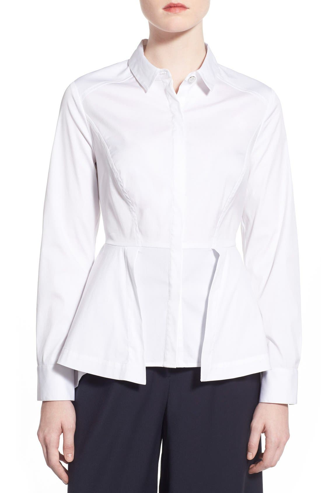 Main Image - Olivia Palermo + Chelsea28 Poplin Peplum Shirt