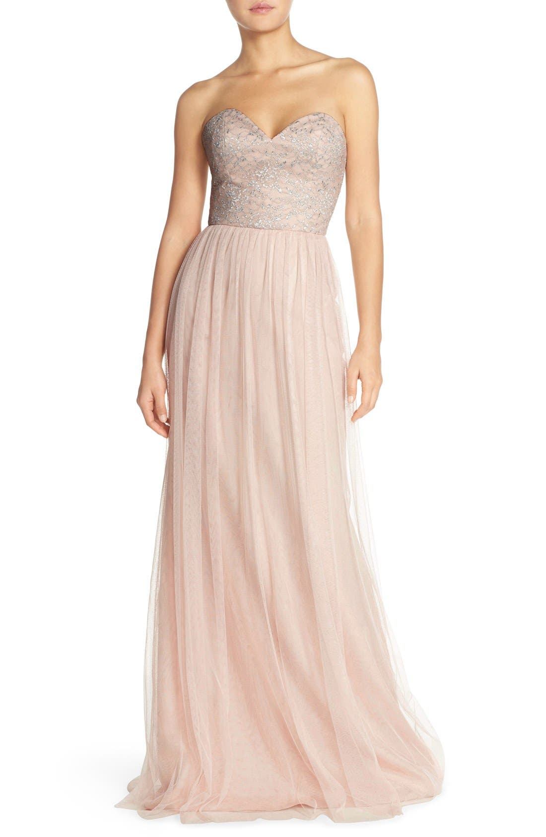 Main Image - Hayley Paige Occasions Strapless Metallic Lace & Net Gown