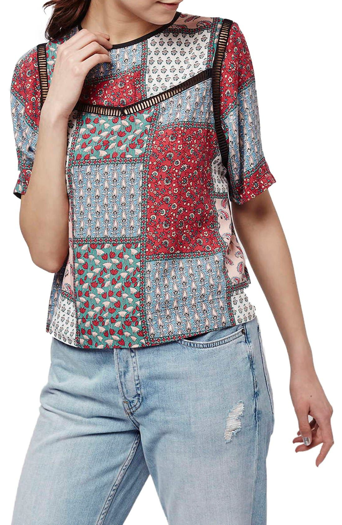 Alternate Image 1 Selected - Topshop Ladder Stitch Scarf Print Tee