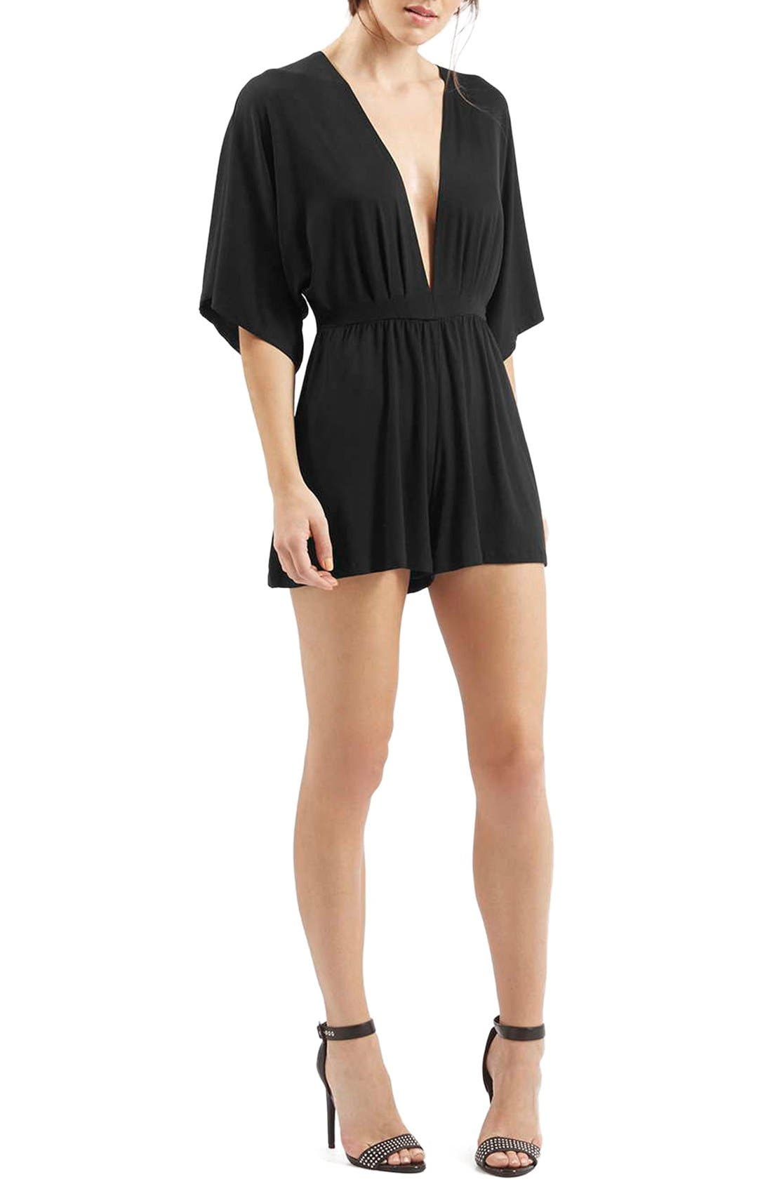 Plunge Jersey Romper,                             Main thumbnail 1, color,                             Black