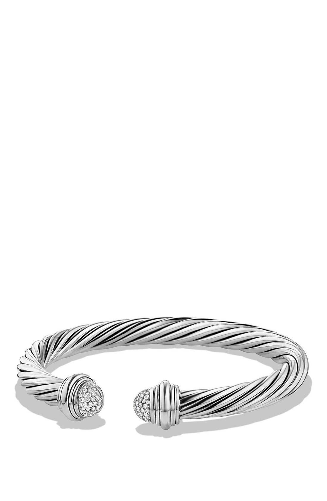 Cable Classics Bracelet with Black Diamonds, 7mm,                         Main,                         color, Silver