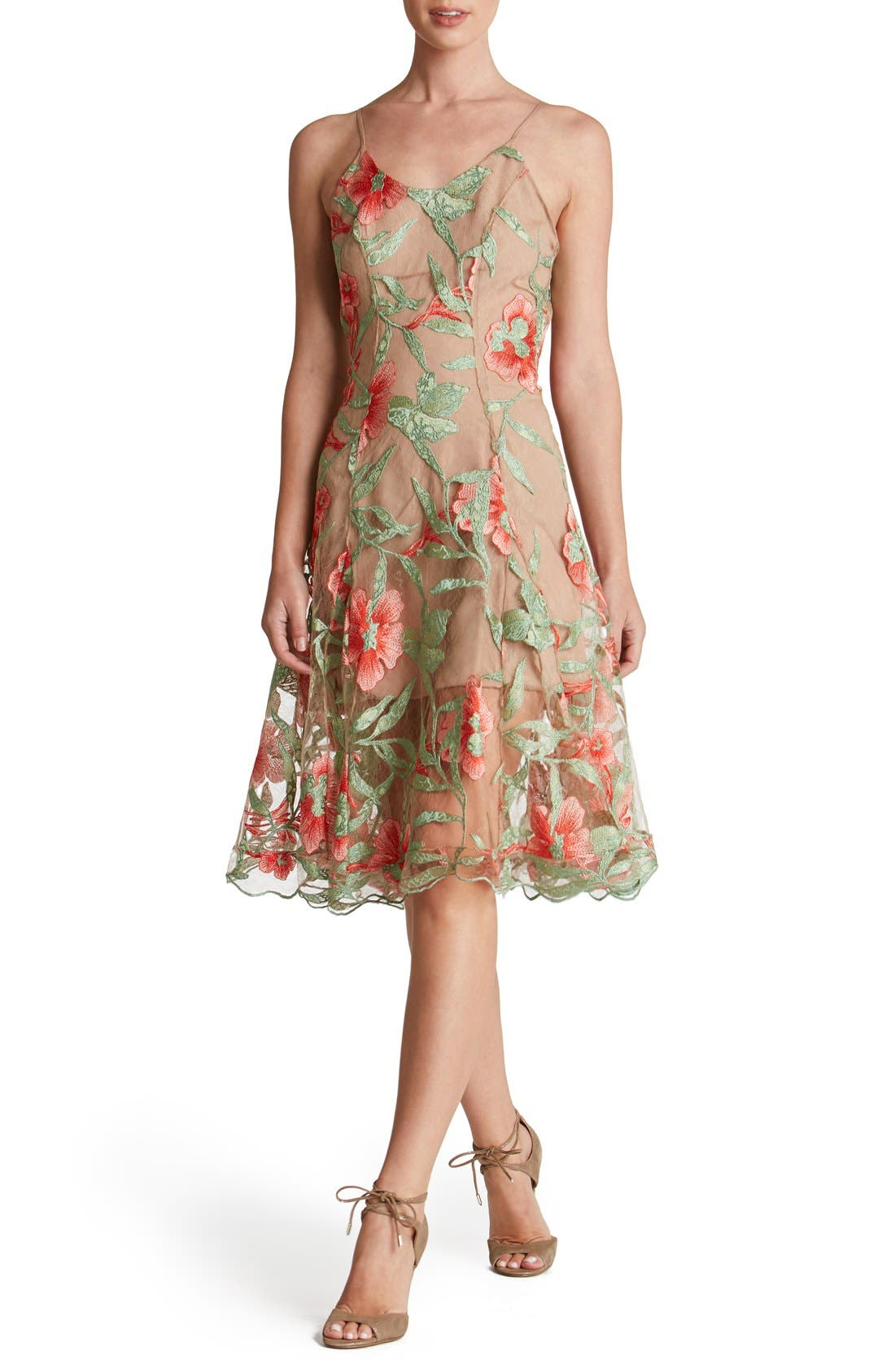 Alternate Image 1 Selected - Dress the Population Embroidered Lace Fit & Flare Dress
