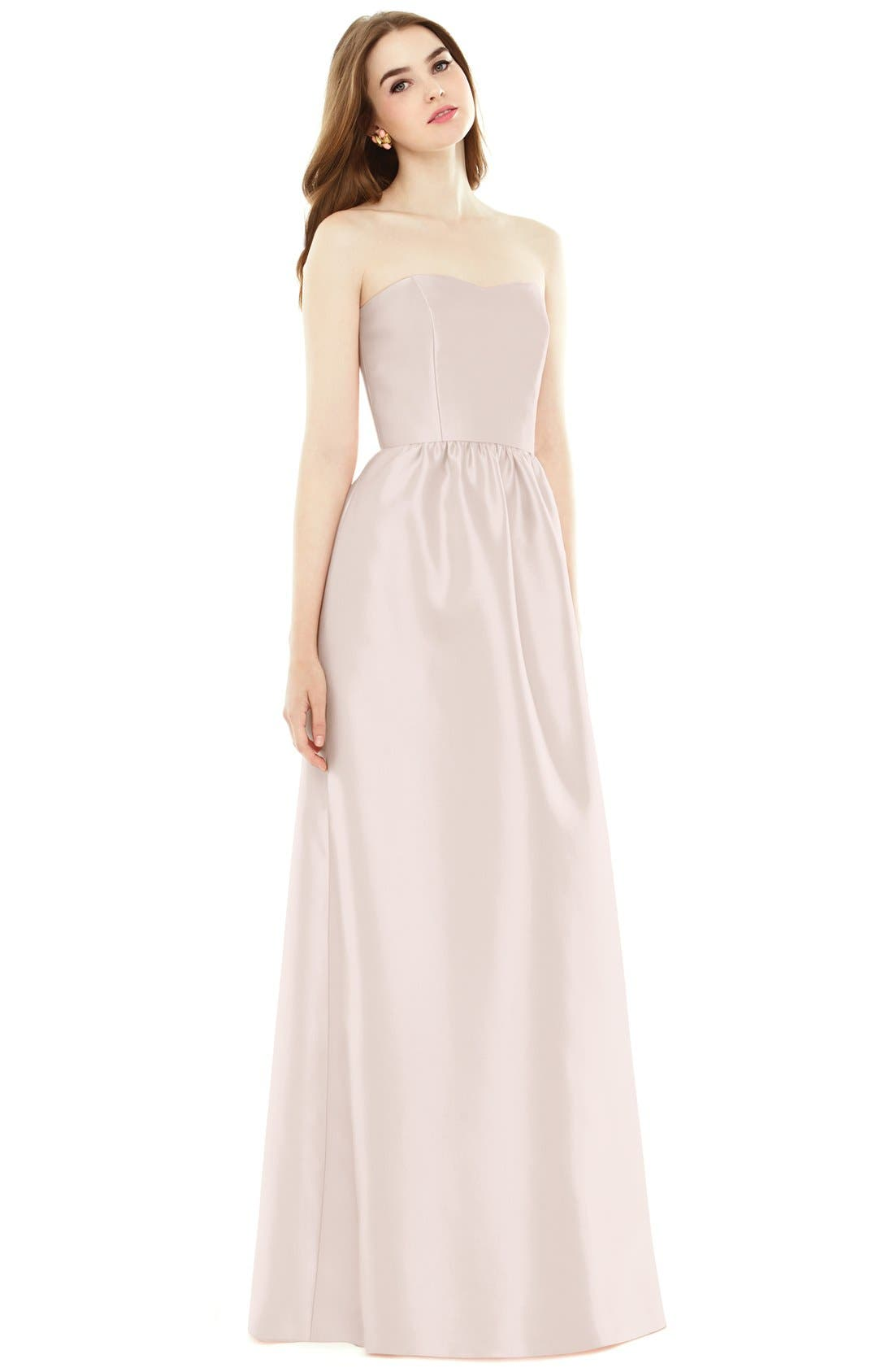 Alfred Sung Strapless Sateen A-Line Gown