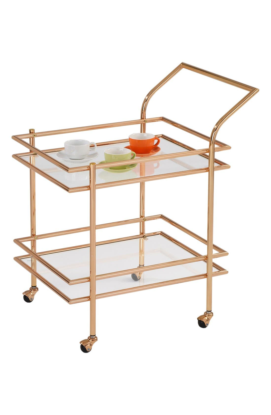 American Atelier Rectangular Wheeled Bar Cart,                             Main thumbnail 1, color,                             Metallic Gold