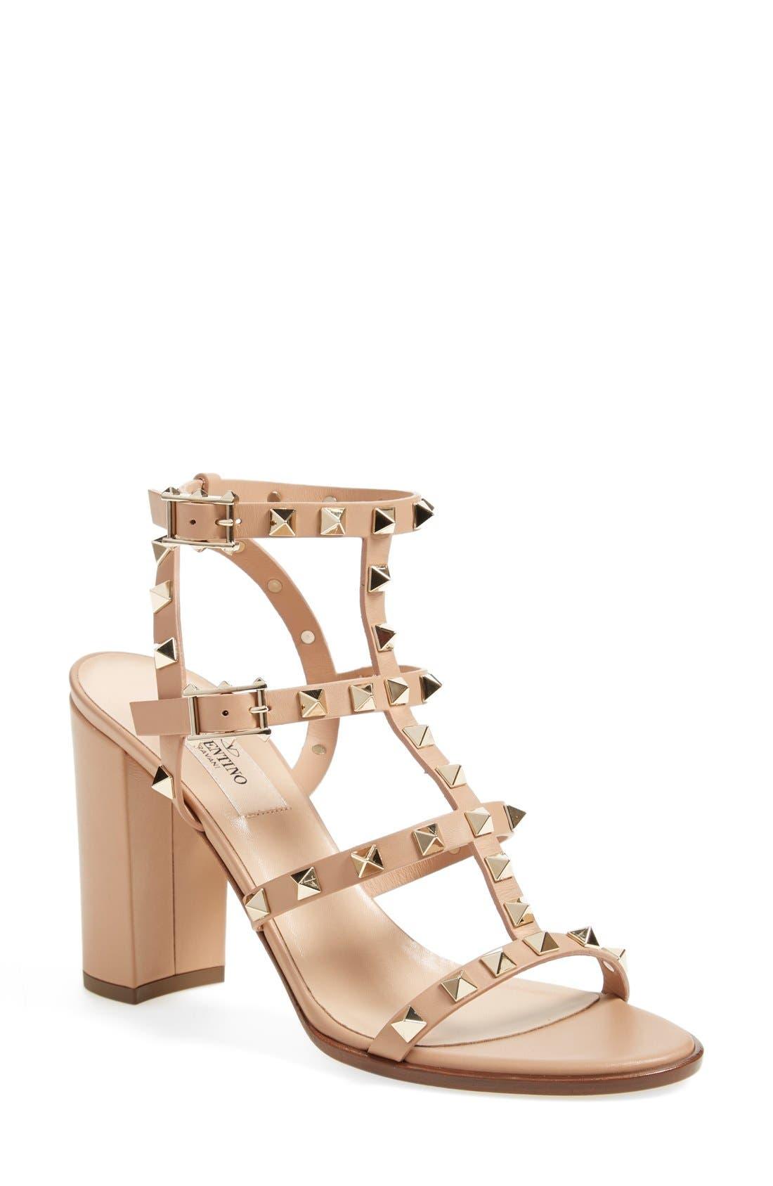 'Rockstud' T-Strap Sandal,                         Main,                         color, Beige Leather