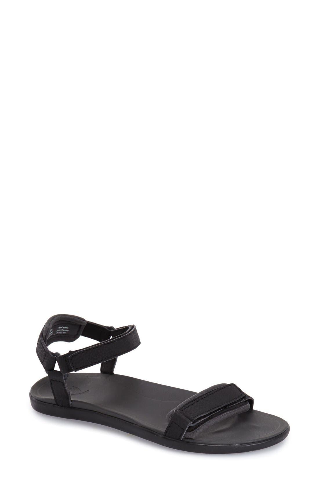 Main Image - OluKai 'Luana' Sandal (Women). Black Faux Leather swatch image  White ...