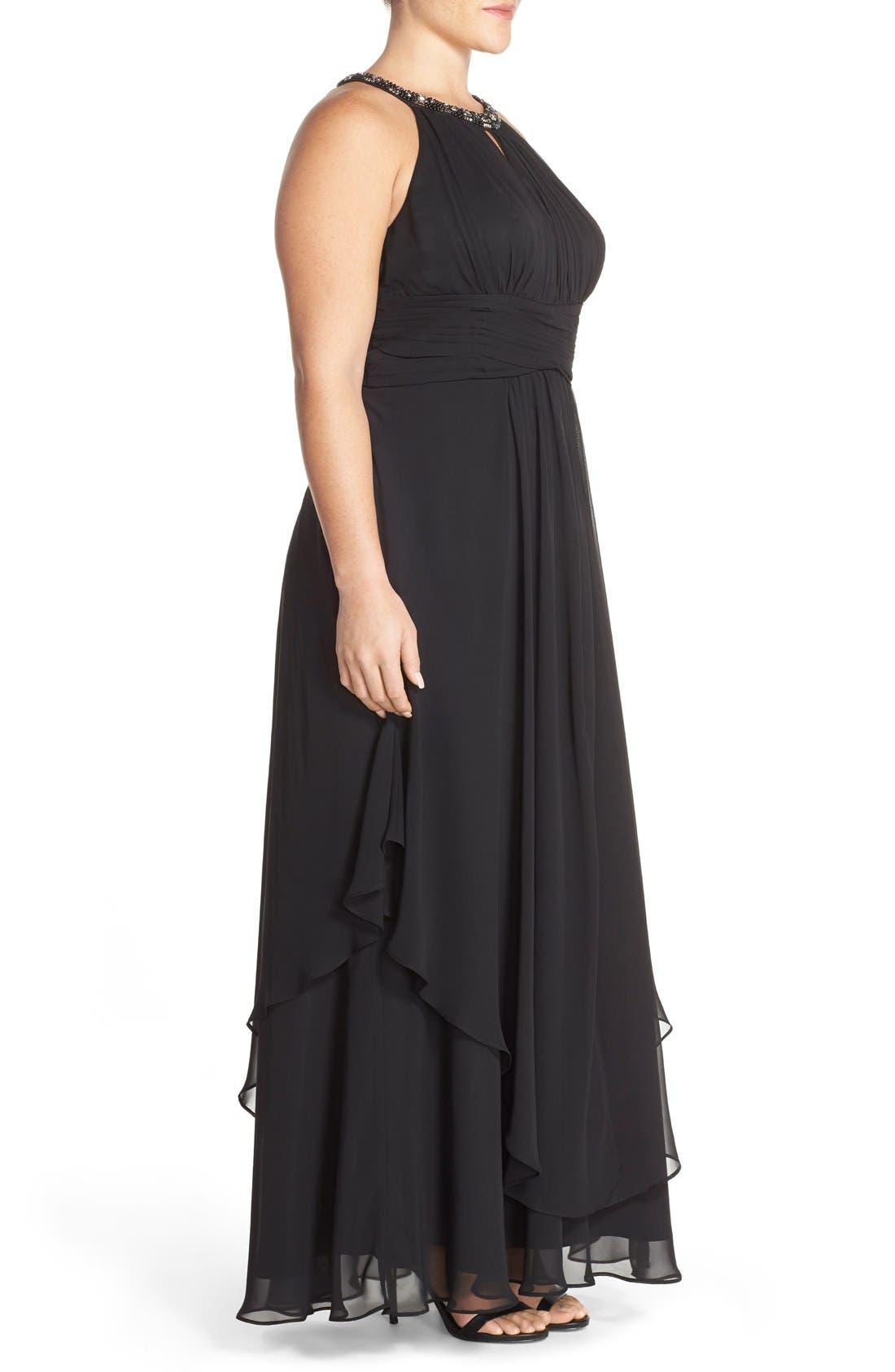 Embellished Keyhole Neck Chiffon Gown,                             Alternate thumbnail 3, color,                             Black