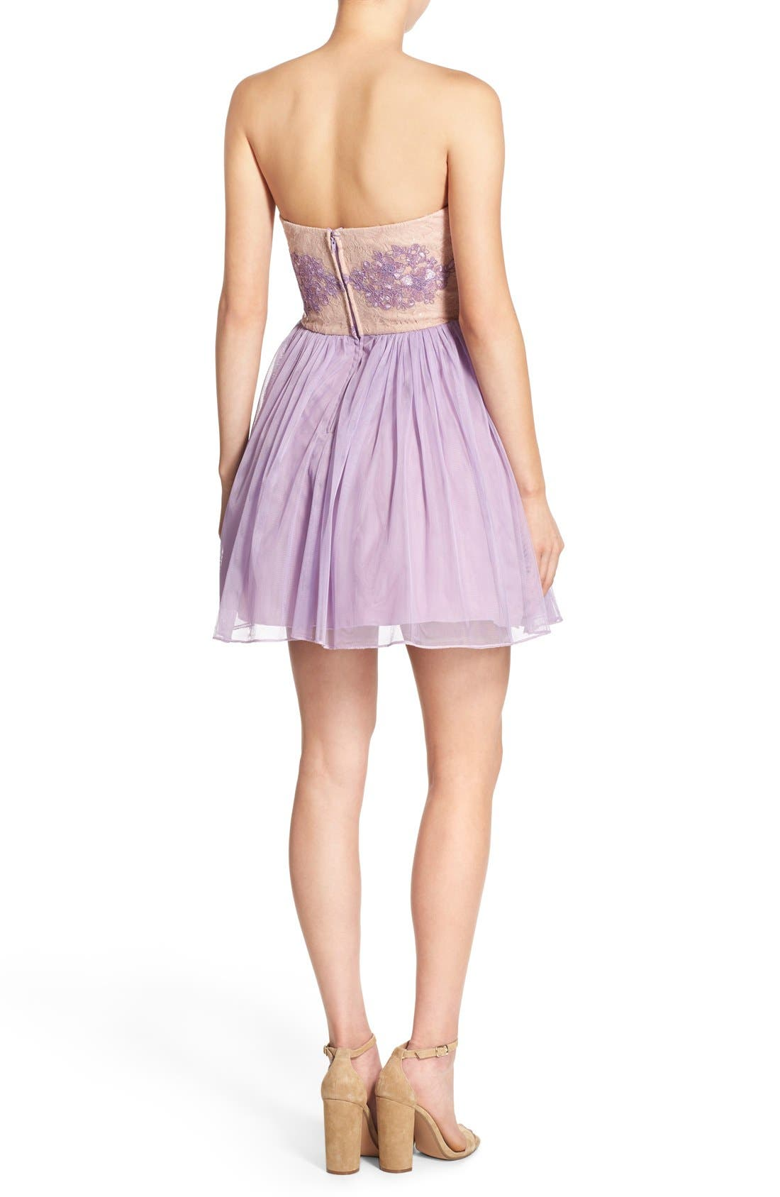 Alternate Image 2  - Way-In 'Claire' Embellished Strapless Skater Dress