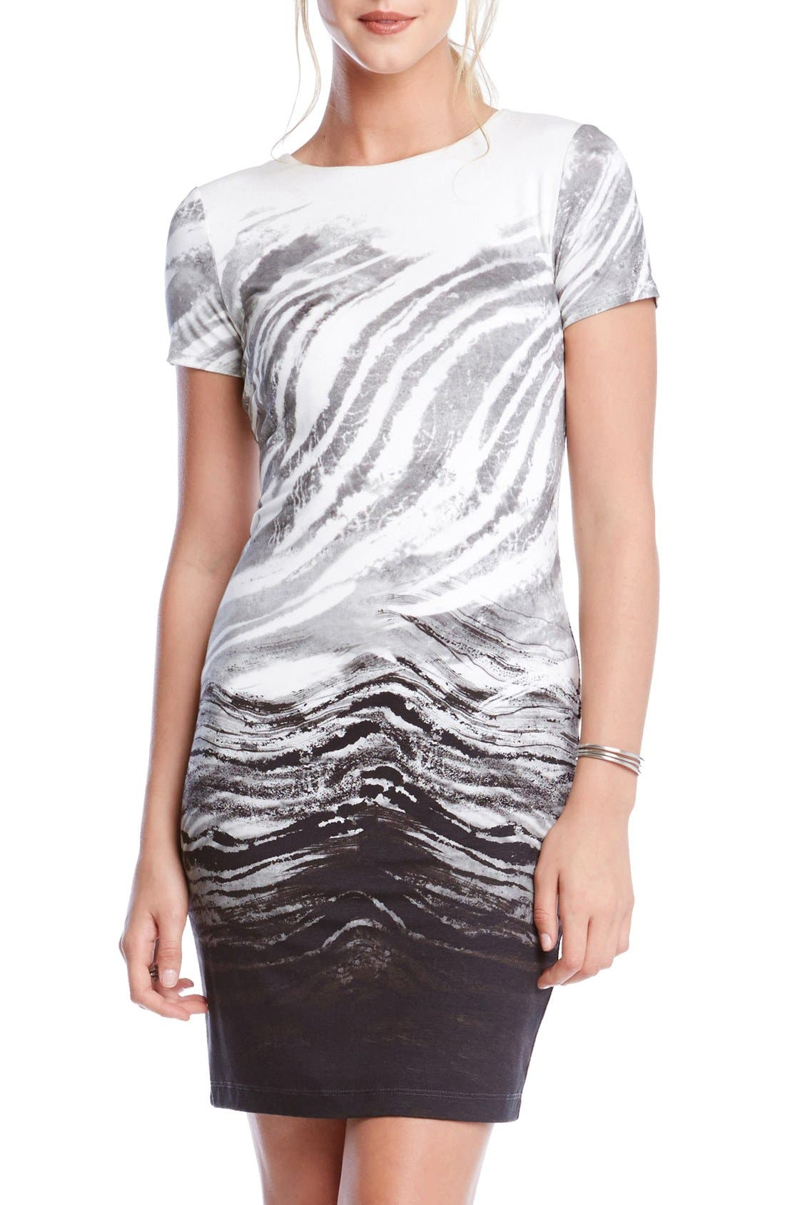 Alternate Image 1 Selected - Karen Kane Short Sleeve Ombré Graphic Sheath Dress