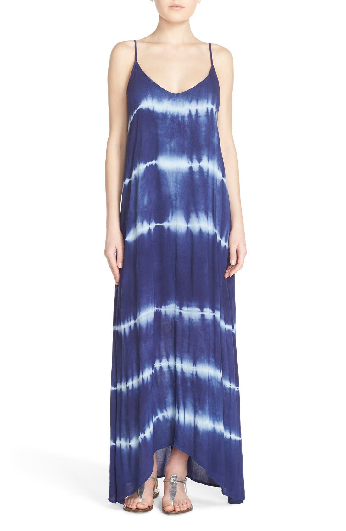 Border Print Crepe A-Line Maxi Dress,                         Main,                         color, Navy Mint Line