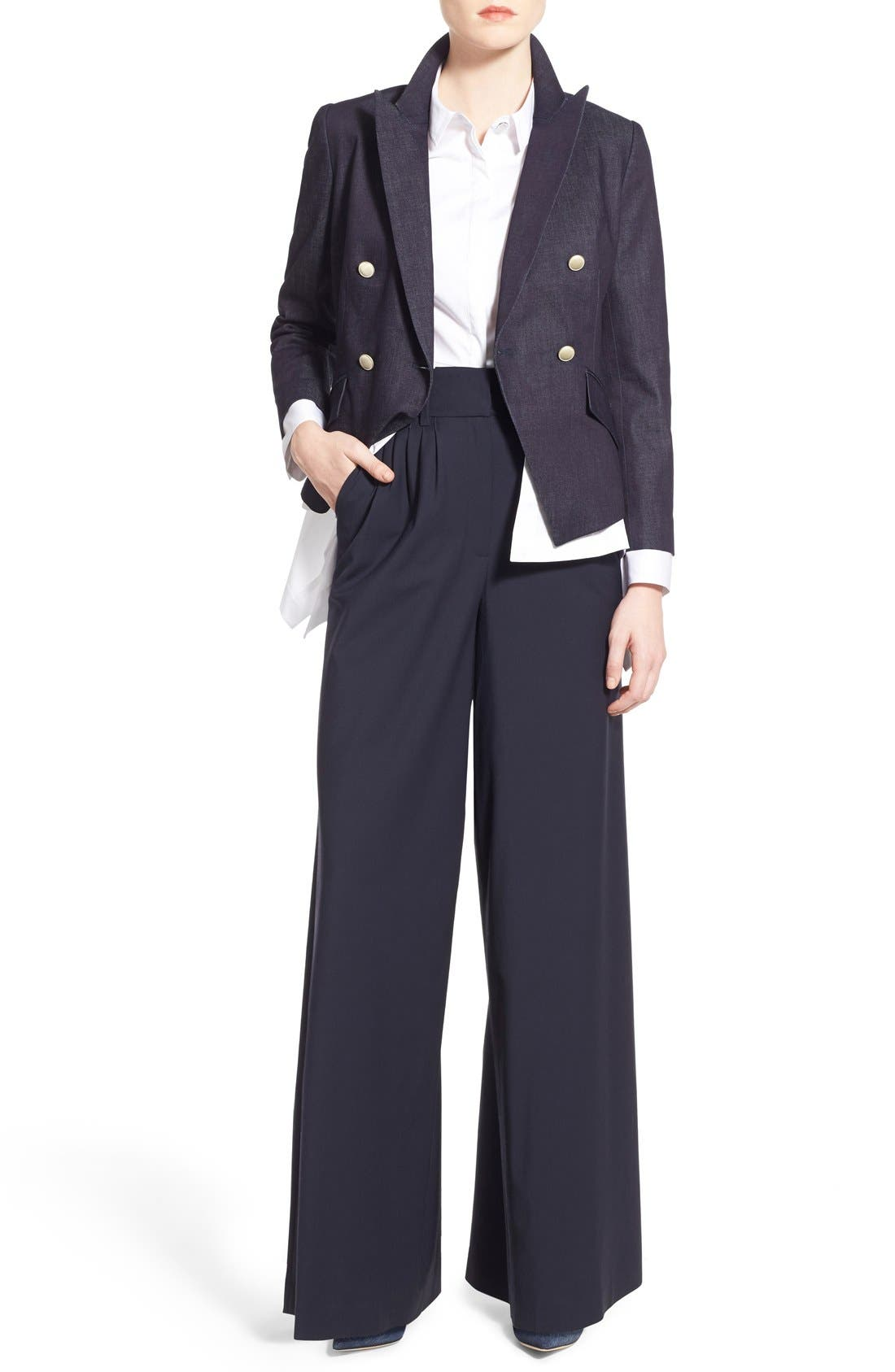 Pleat Front Trousers,                             Alternate thumbnail 7, color,                             Navy Evening