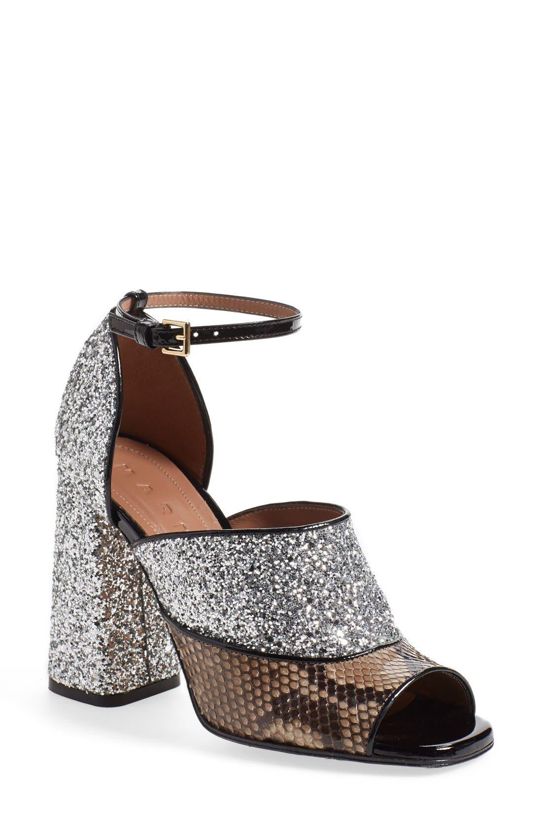 Alternate Image 1 Selected - Marni Peep Toe Chunky Genuine Python & Glitter Sandal (Women)