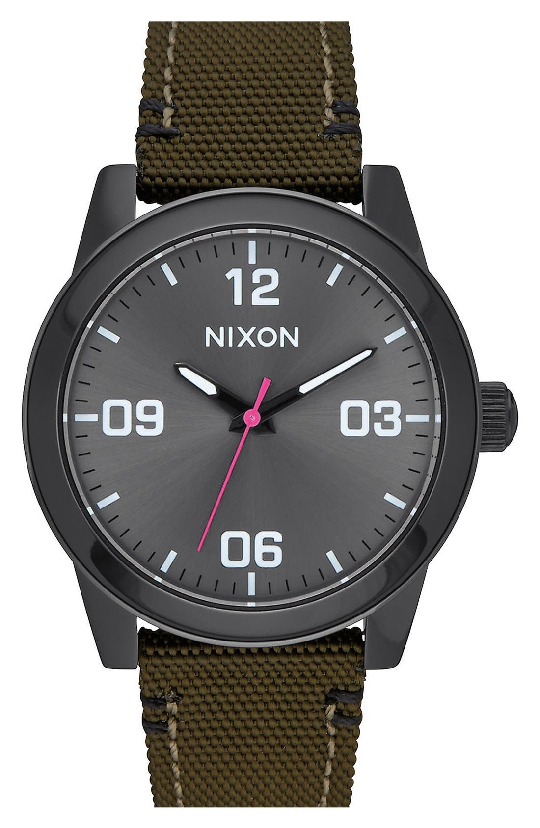 'G.I.' Round Dial Nylon Strap Watch, 36mm,                             Main thumbnail 1, color,                             Olive/ Black