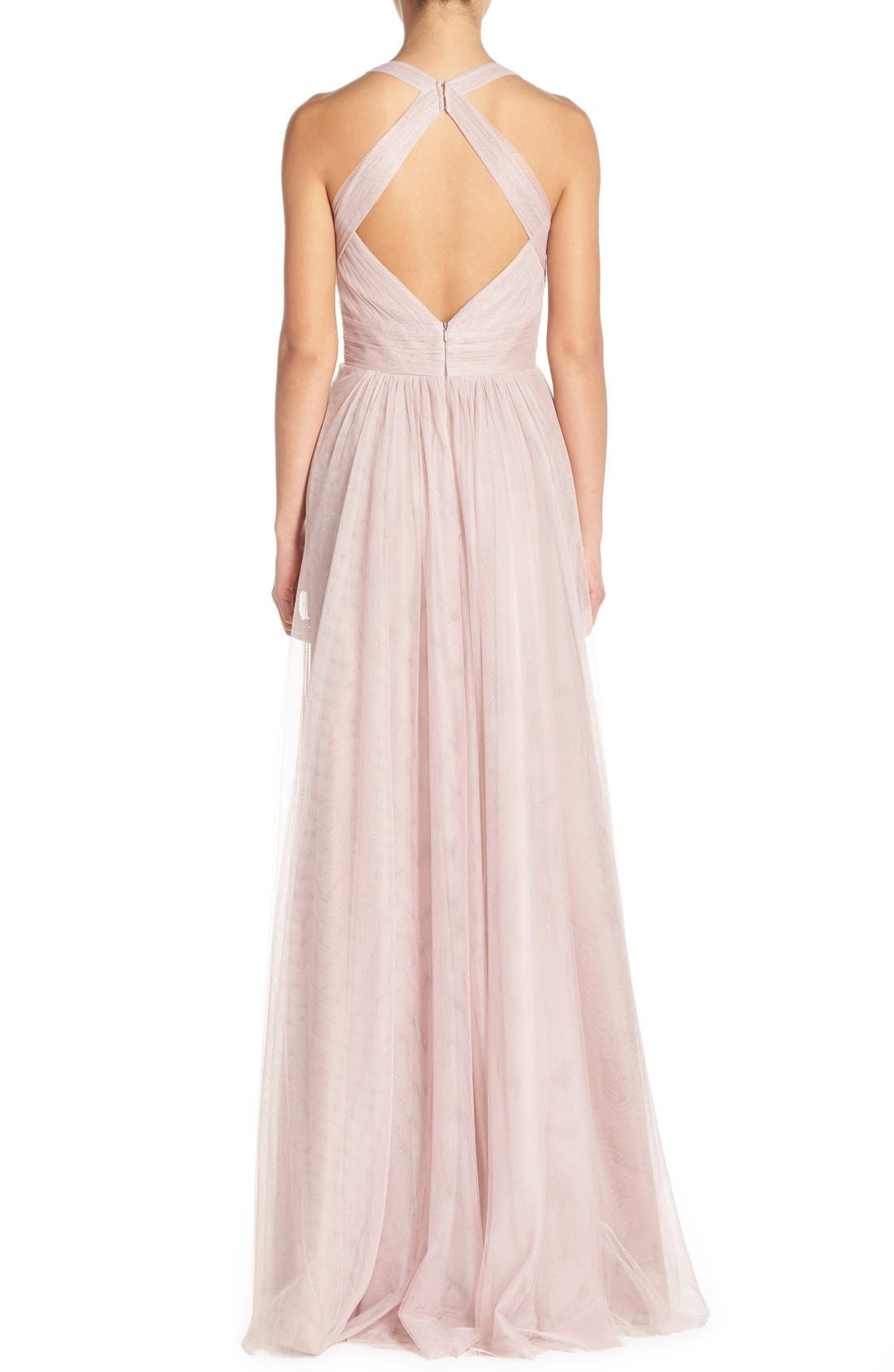 Sleeveless V-Neck Tulle Gown,                             Alternate thumbnail 2, color,                             Rose