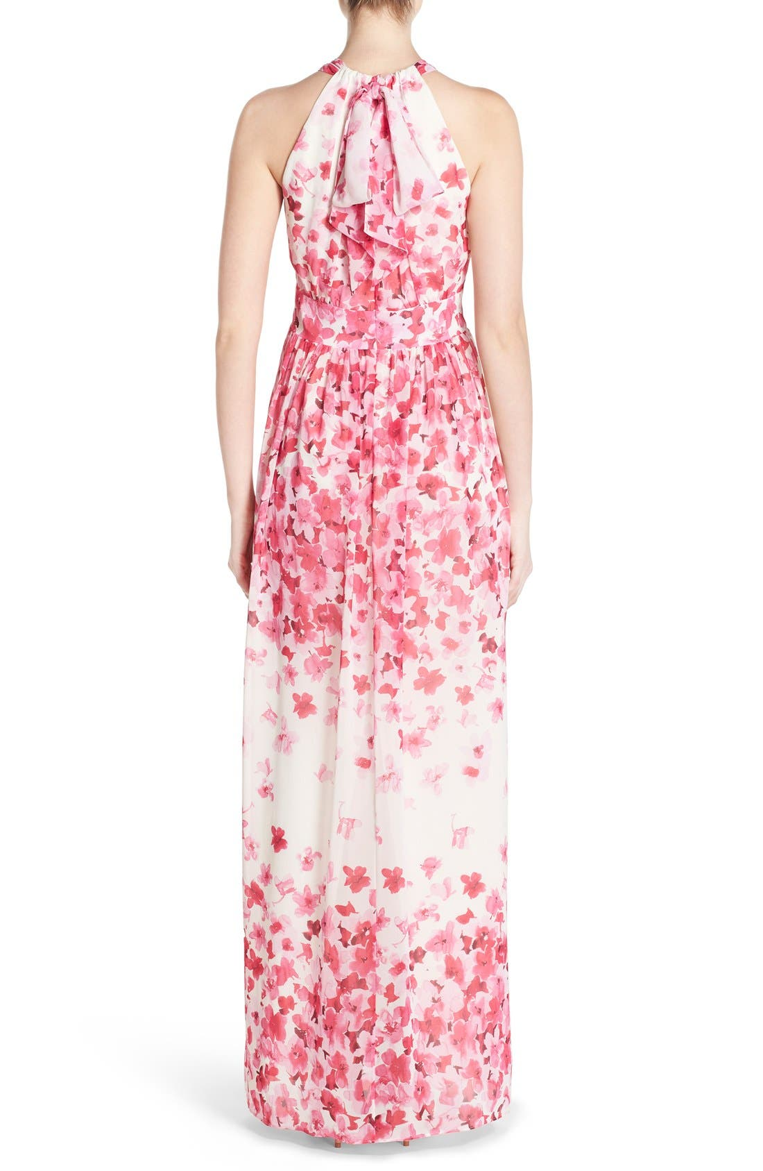 Alternate Image 2  - Eliza J Print Pleated Chiffon Maxi Dress