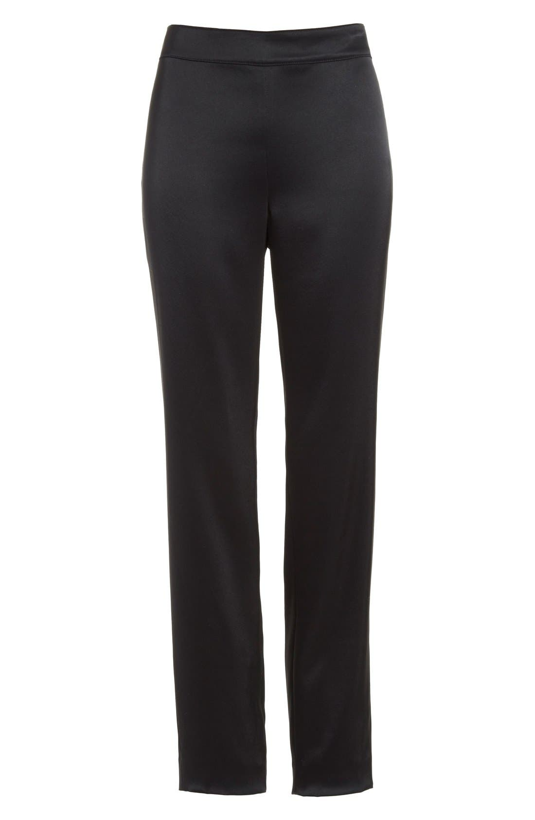 Emma Satin Ankle Pants,                             Alternate thumbnail 4, color,                             Caviar