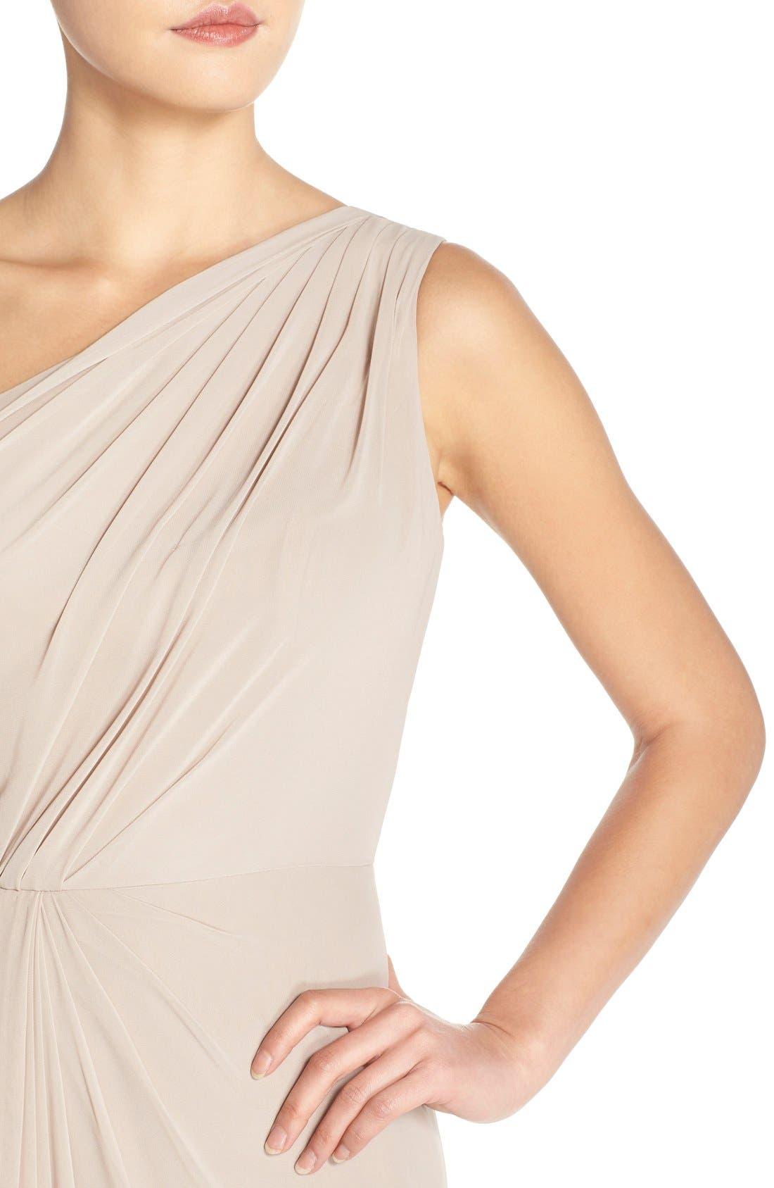 One-Shoulder Chiffon Gown,                             Alternate thumbnail 4, color,                             Mink