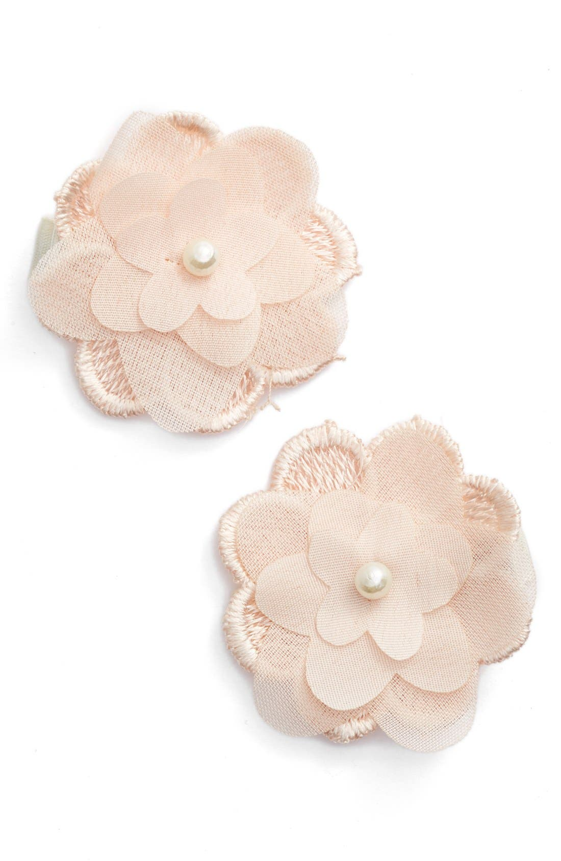 Alternate Image 1 Selected - PLH Bows & Laces Flower Hair Clips (Set of 2) (Baby Girls)