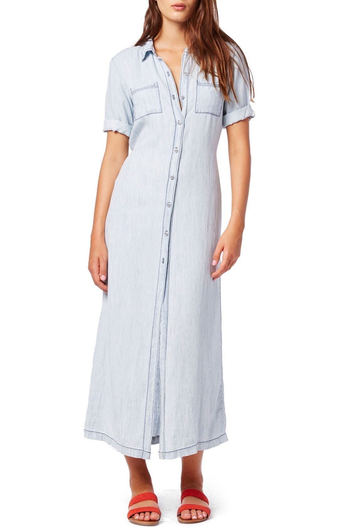 Alternate Image 1 Selected - Michael Stars Button Front Chambray Maxi Dress