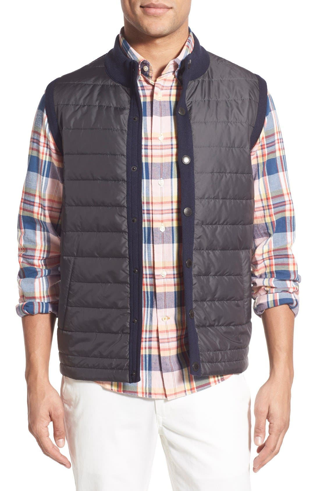 'Essential' Tailored Fit Mixed Media Vest,                             Main thumbnail 1, color,                             Navy