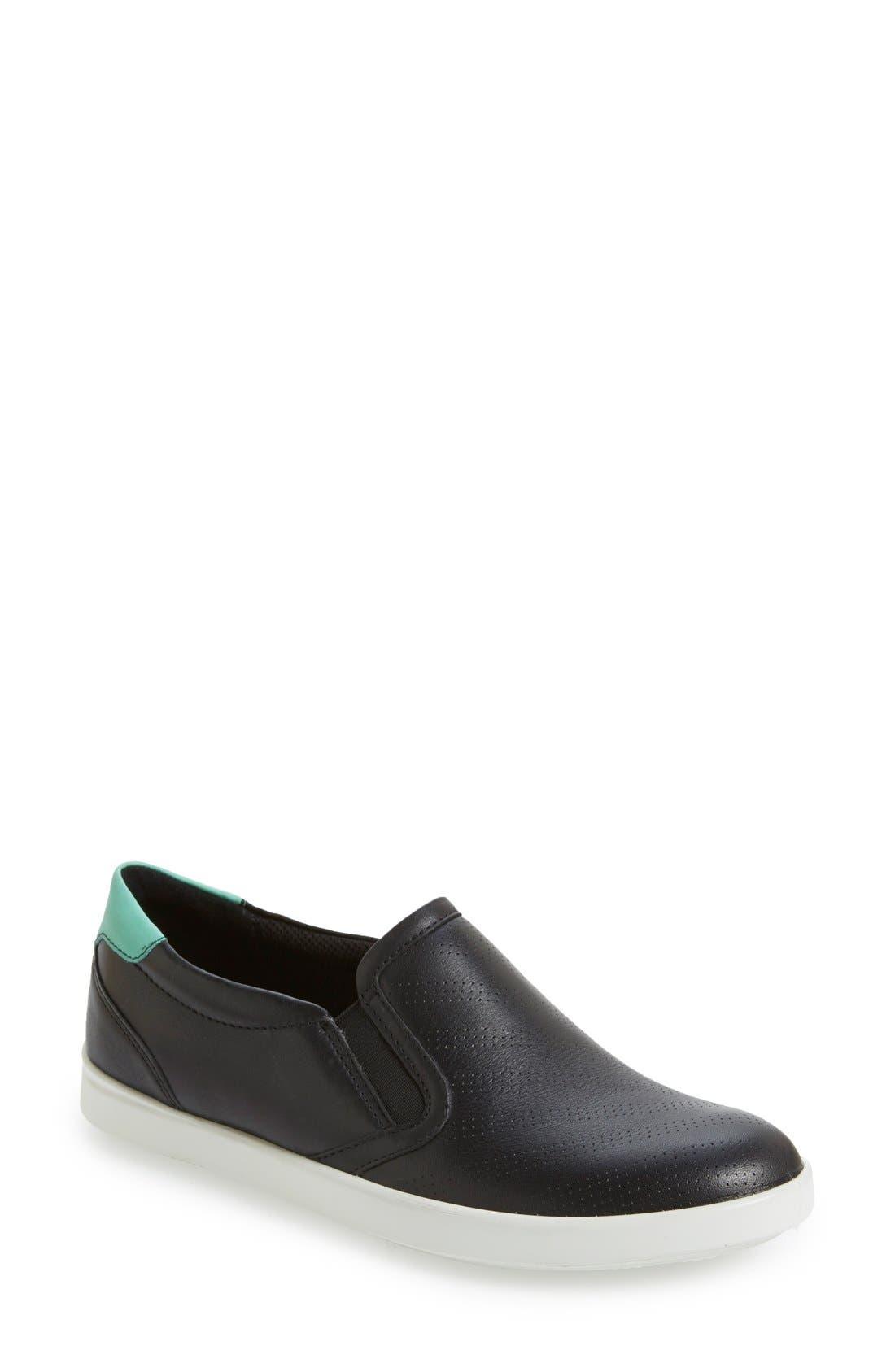 'Aimee' Slip-On Sneaker,                             Main thumbnail 1, color,                             Black/ Granite Green Leather