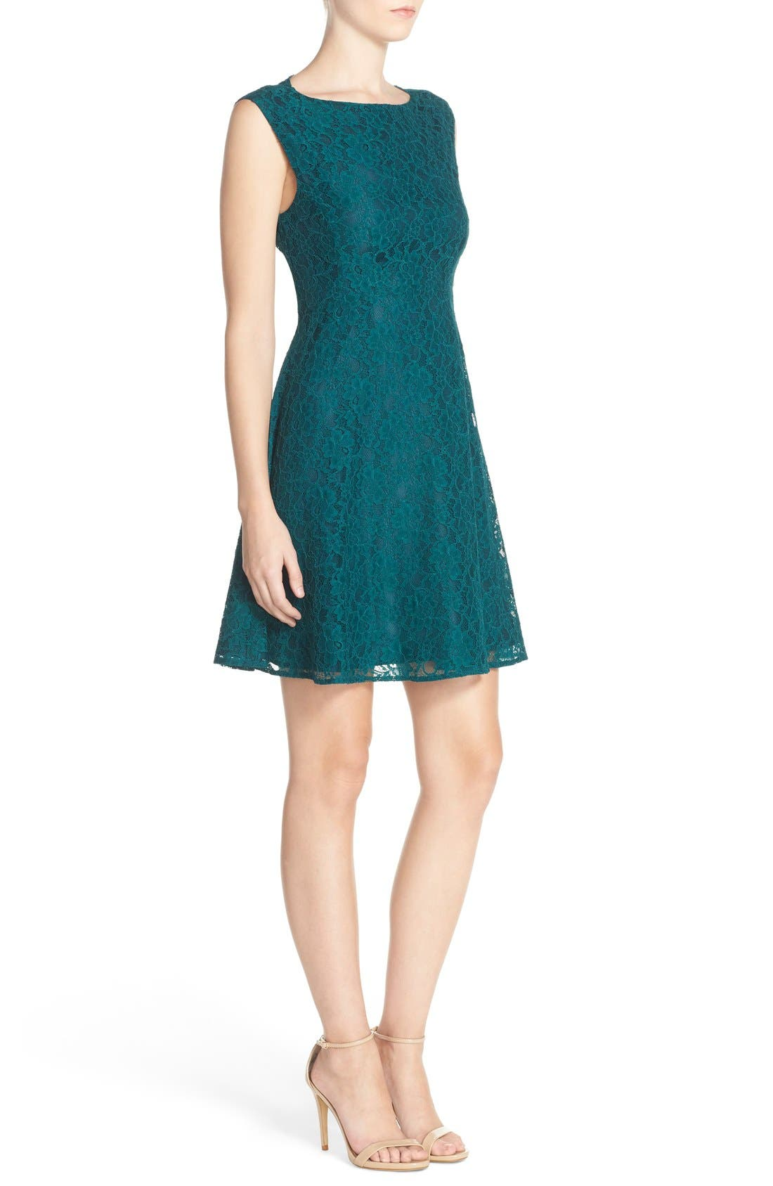 Fit & Flare Dress,                             Alternate thumbnail 4, color,                             Jewel Green