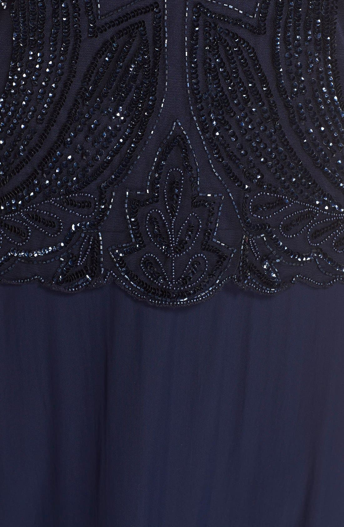 Illusion Neck Beaded A-Line Gown,                             Alternate thumbnail 5, color,                             Navy