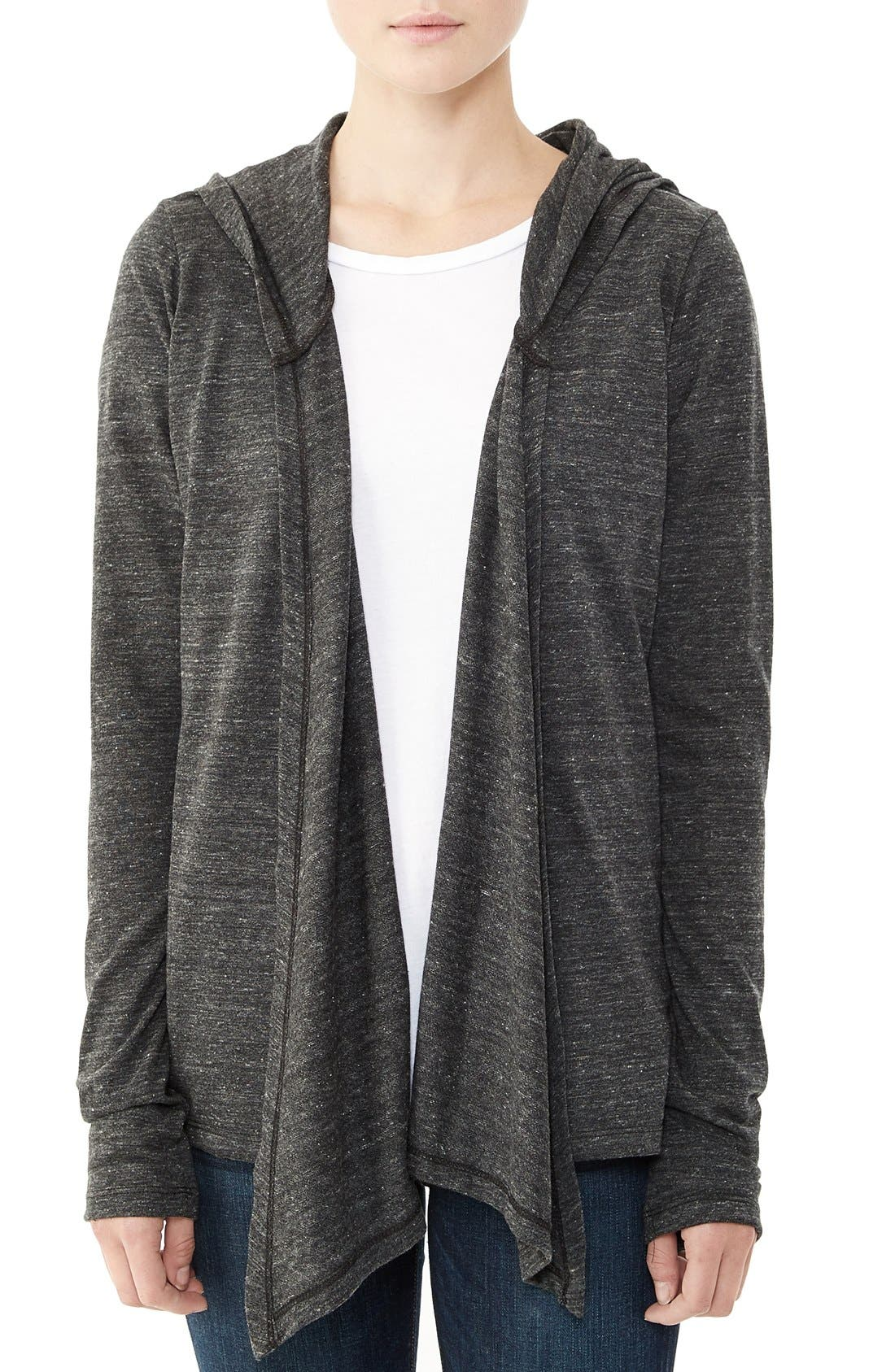Hooded Jersey Wrap,                         Main,                         color, Eco Black