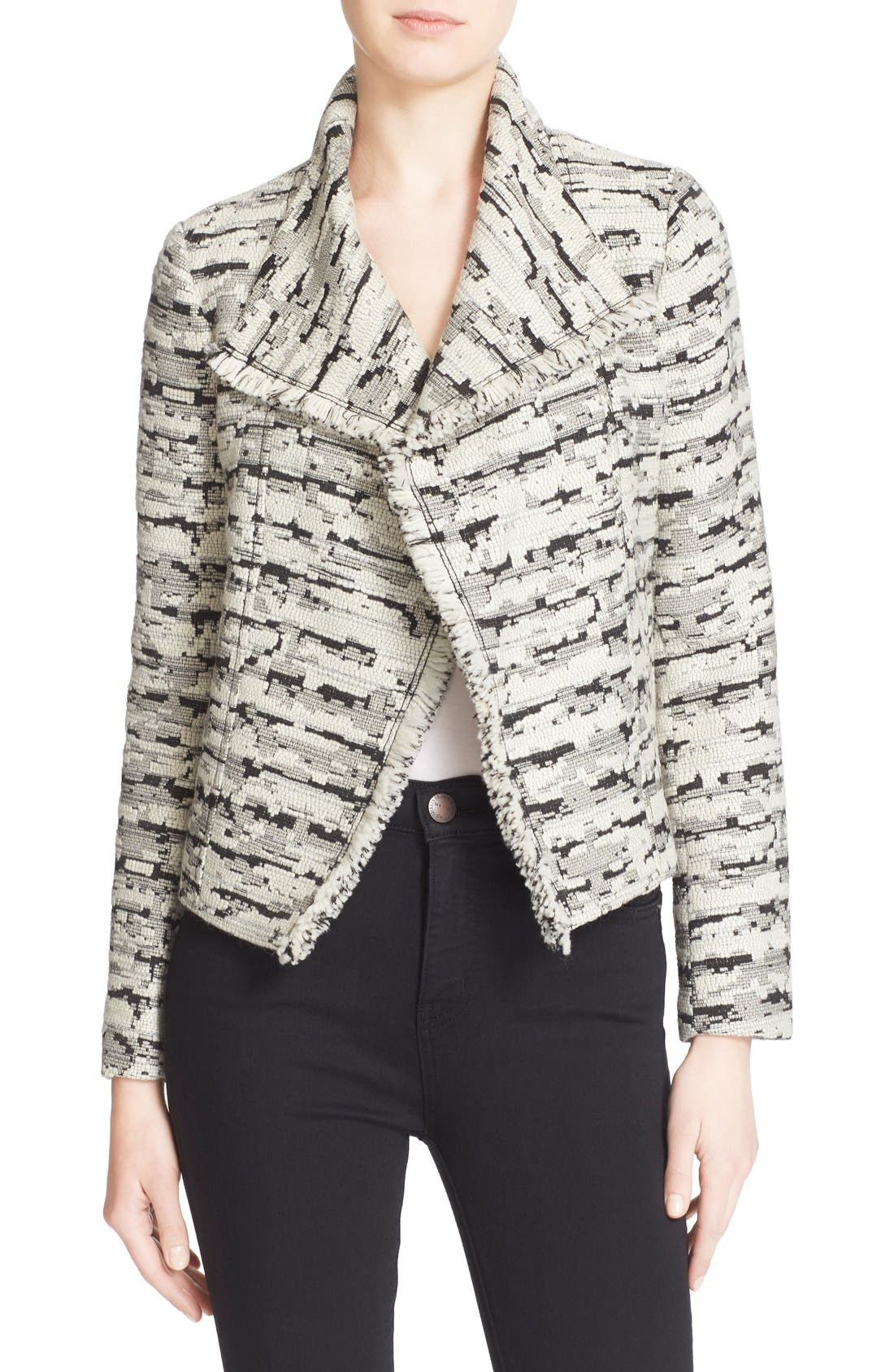 Alternate Image 1 Selected - Vince Fringe Trim Jacquard Jacket