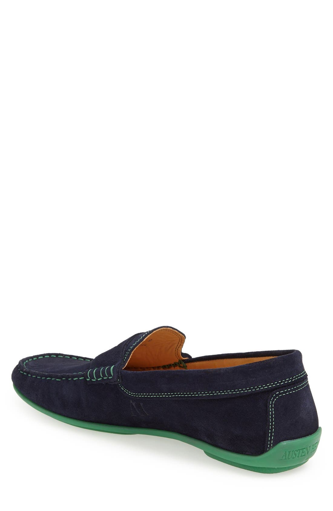 'Chathams' Penny Loafer,                             Alternate thumbnail 2, color,                             Navy Suede/ Green