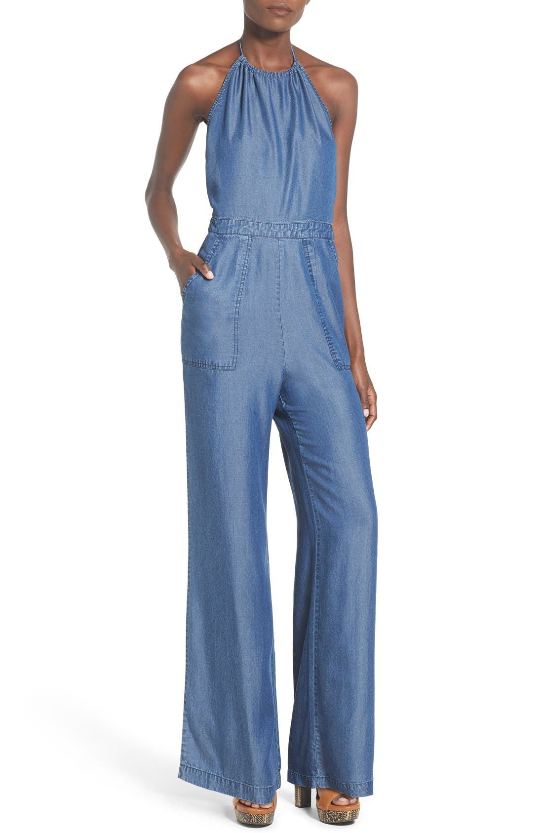 Alternate Image 1 Selected - ASTR Chambray Halter Jumpsuit