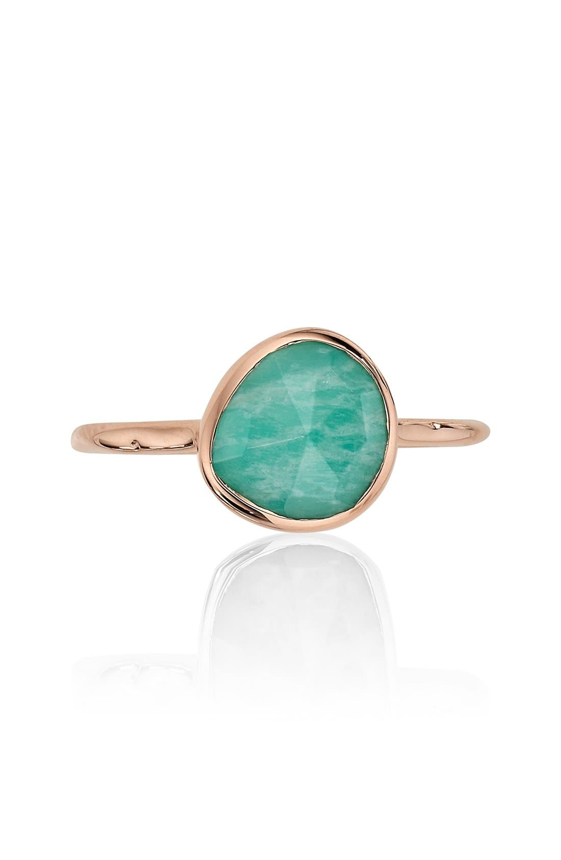 Siren Semiprecious Stone Stacking Ring,                             Alternate thumbnail 3, color,                             Rose Gold/ Amazonite