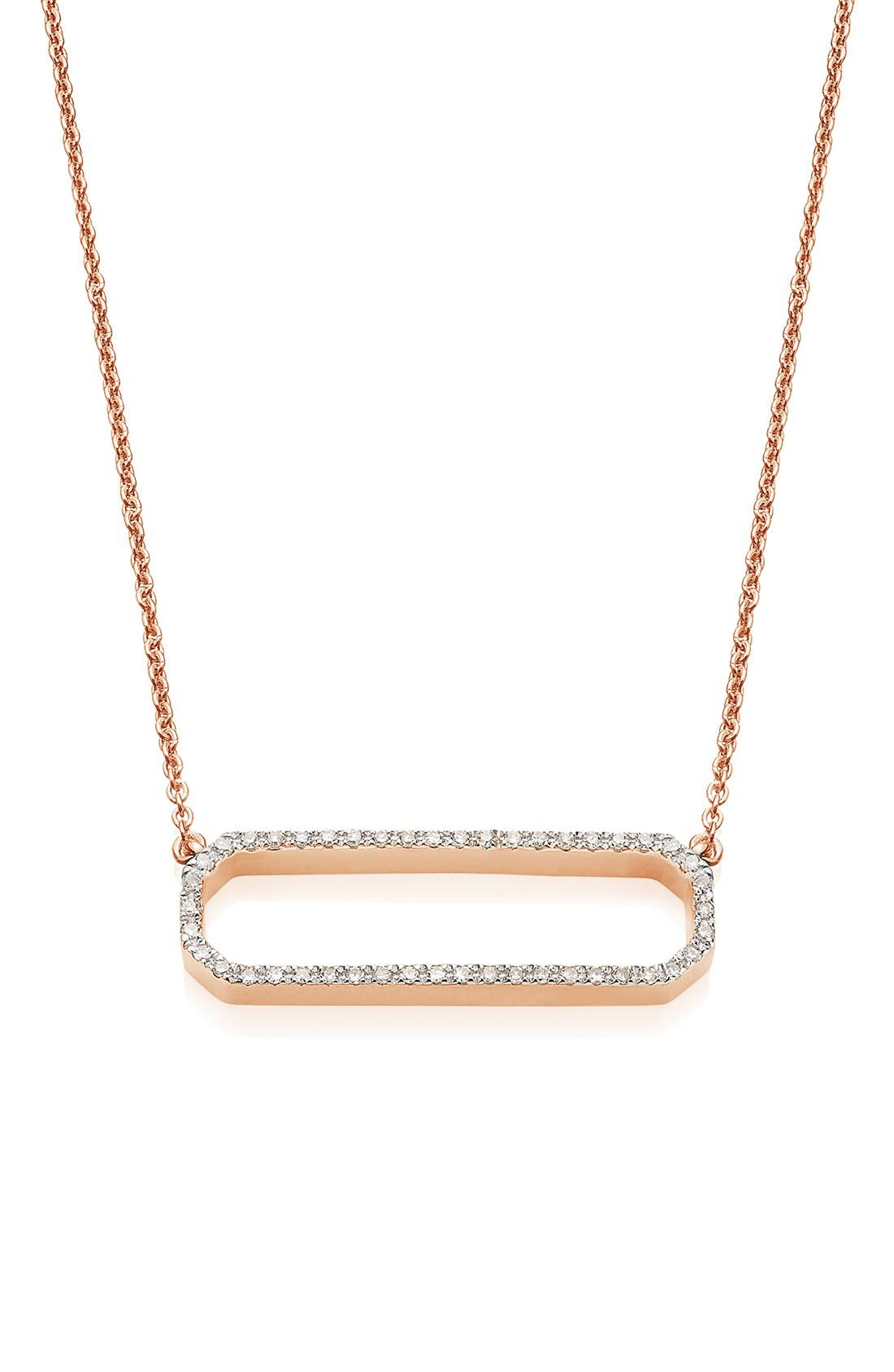 'Naida' Open Rectangle Diamond Pendant Necklace,                             Main thumbnail 1, color,                             Rose Gold